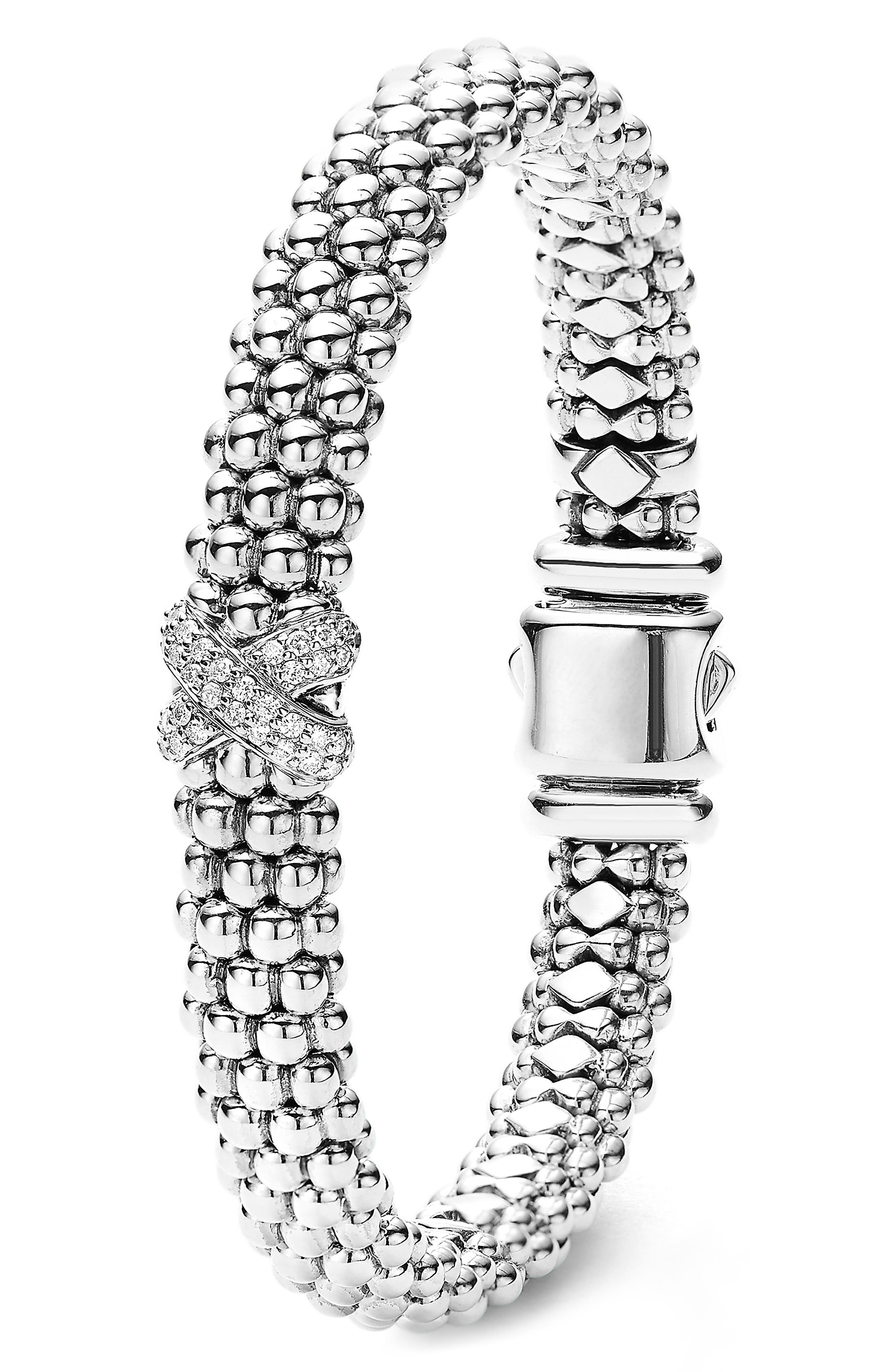 Diamond Lux Single Station X Bracelet,                             Alternate thumbnail 2, color,                             SILVER