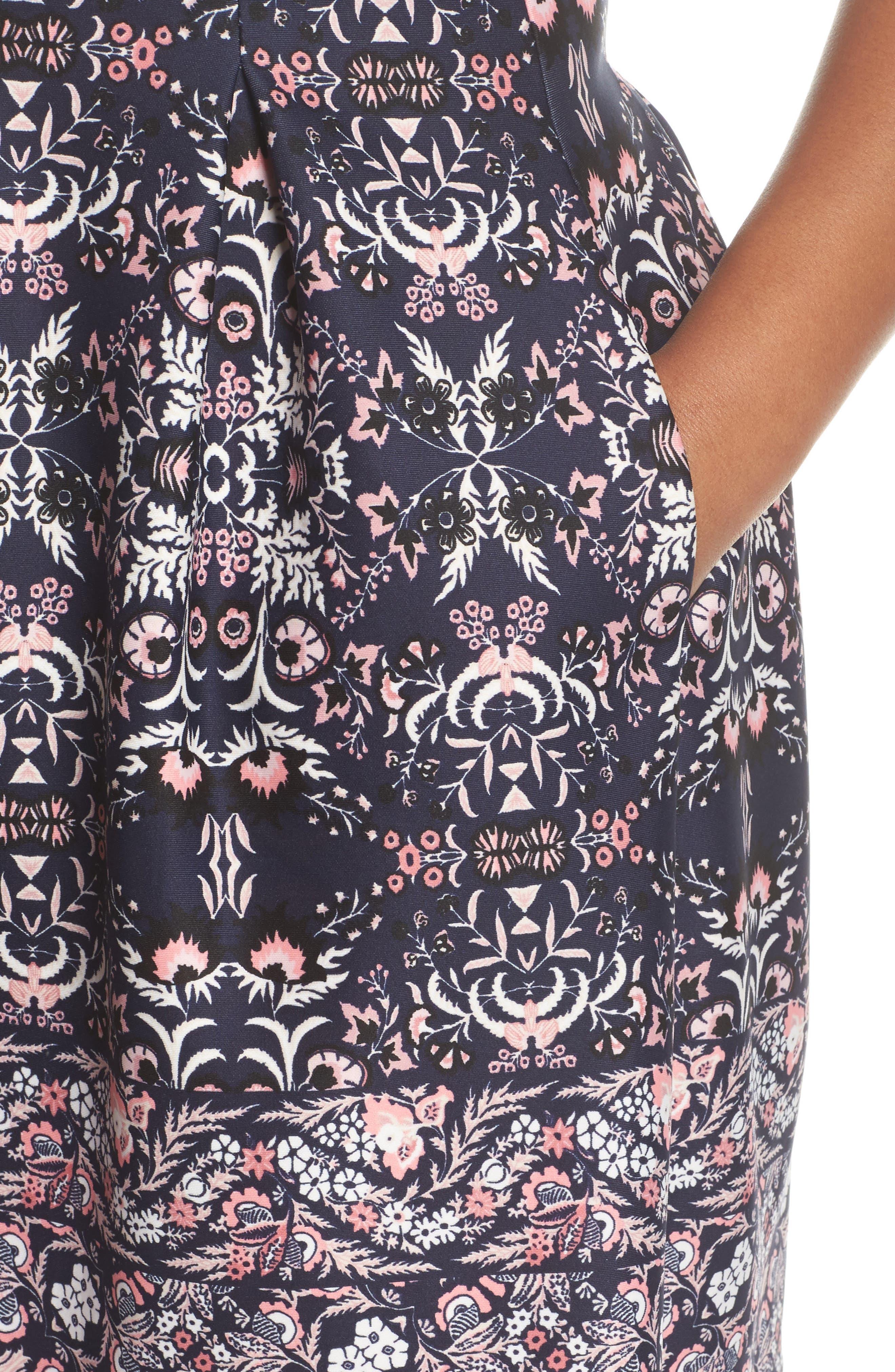 Scuba Fit & Flare Dress,                             Alternate thumbnail 4, color,                             470