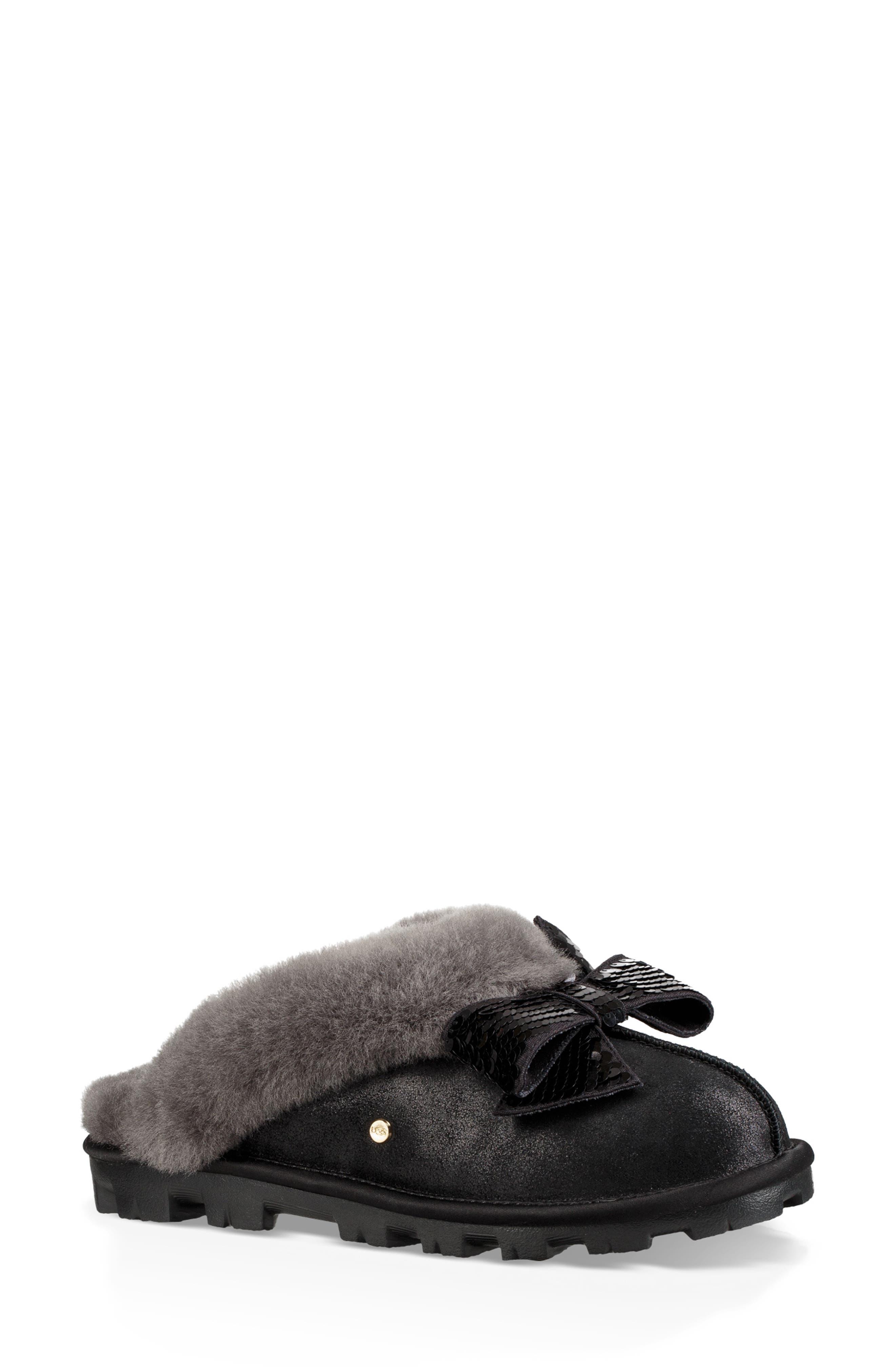 Genuine Shearling & Sequin Bow Slipper,                         Main,                         color, BLACK