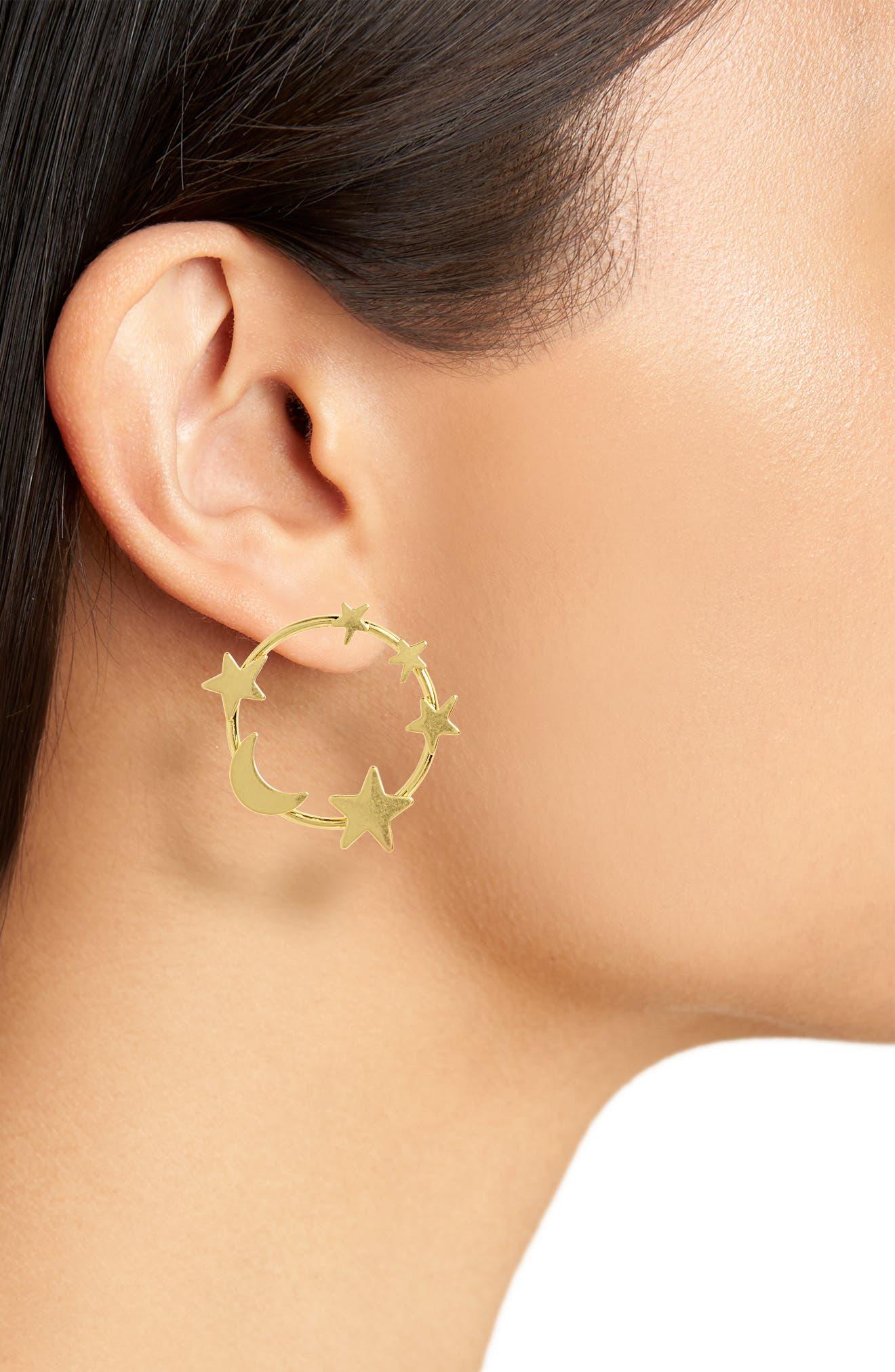 Star & Moon Hoop Earrings,                             Alternate thumbnail 2, color,                             VINTAGE GOLD
