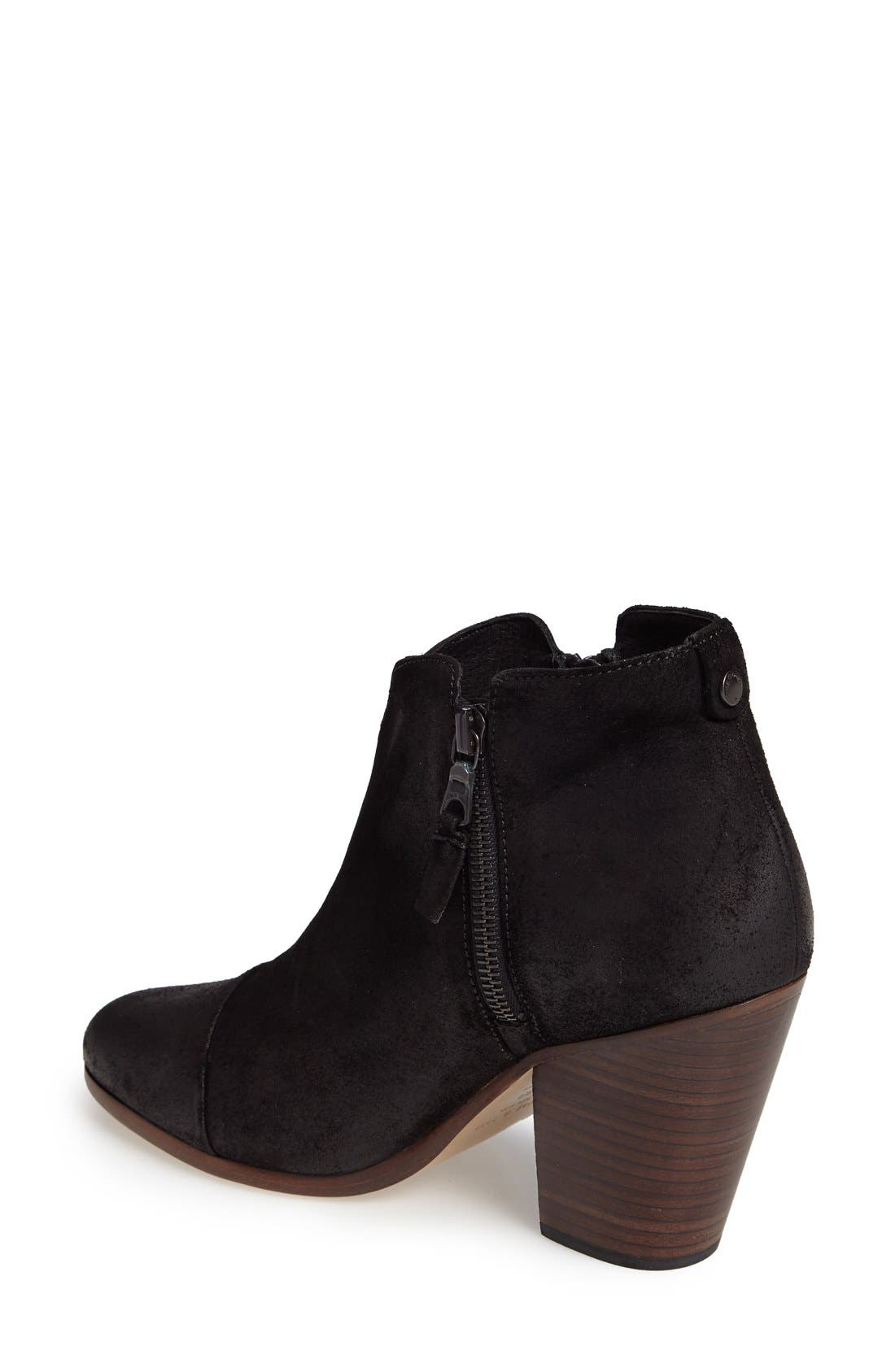 Margot Bootie,                             Alternate thumbnail 7, color,                             BLACK WAXED SUEDE