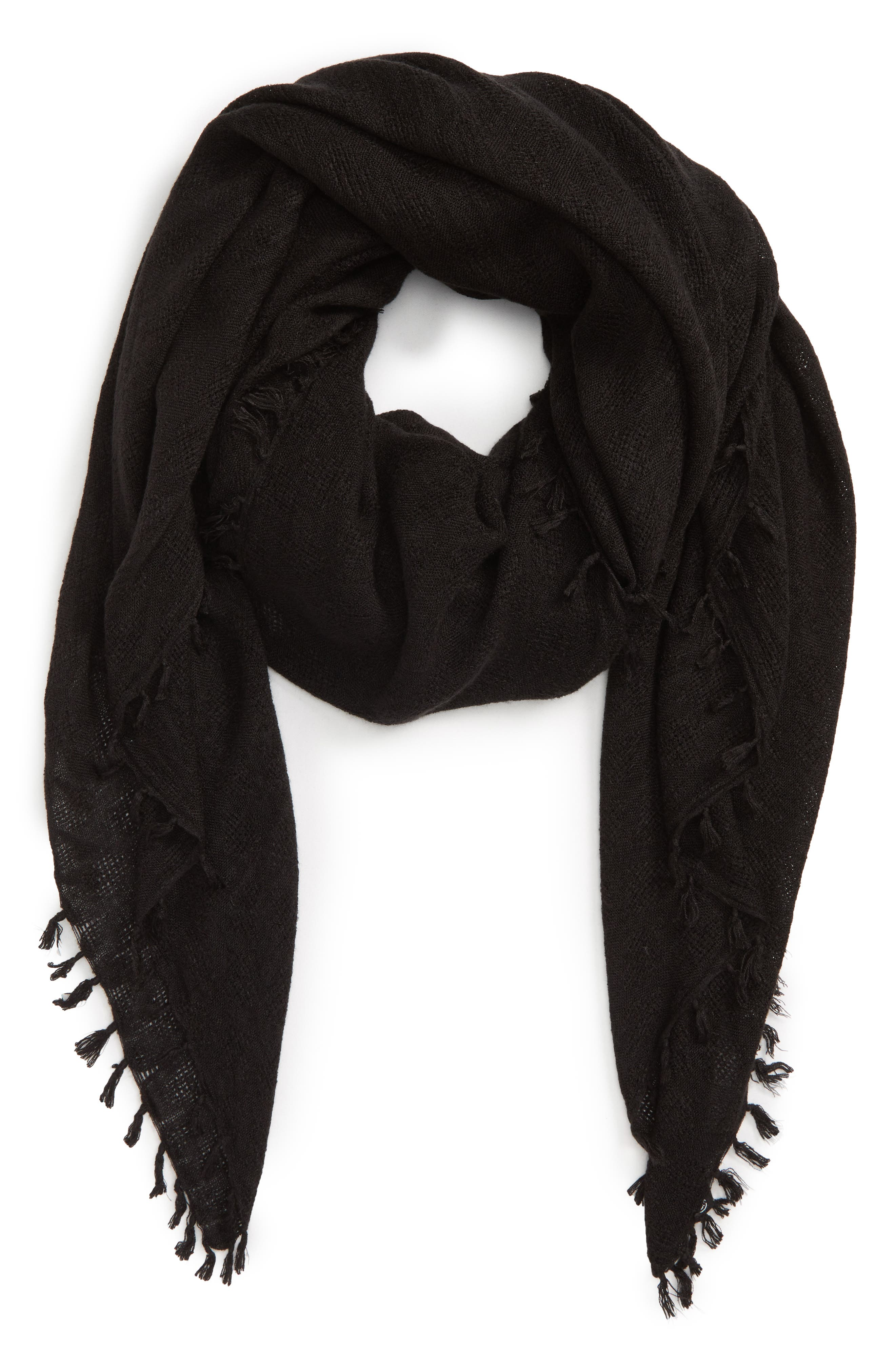 Solid Fringed Scarf,                             Alternate thumbnail 2, color,                             BLACK