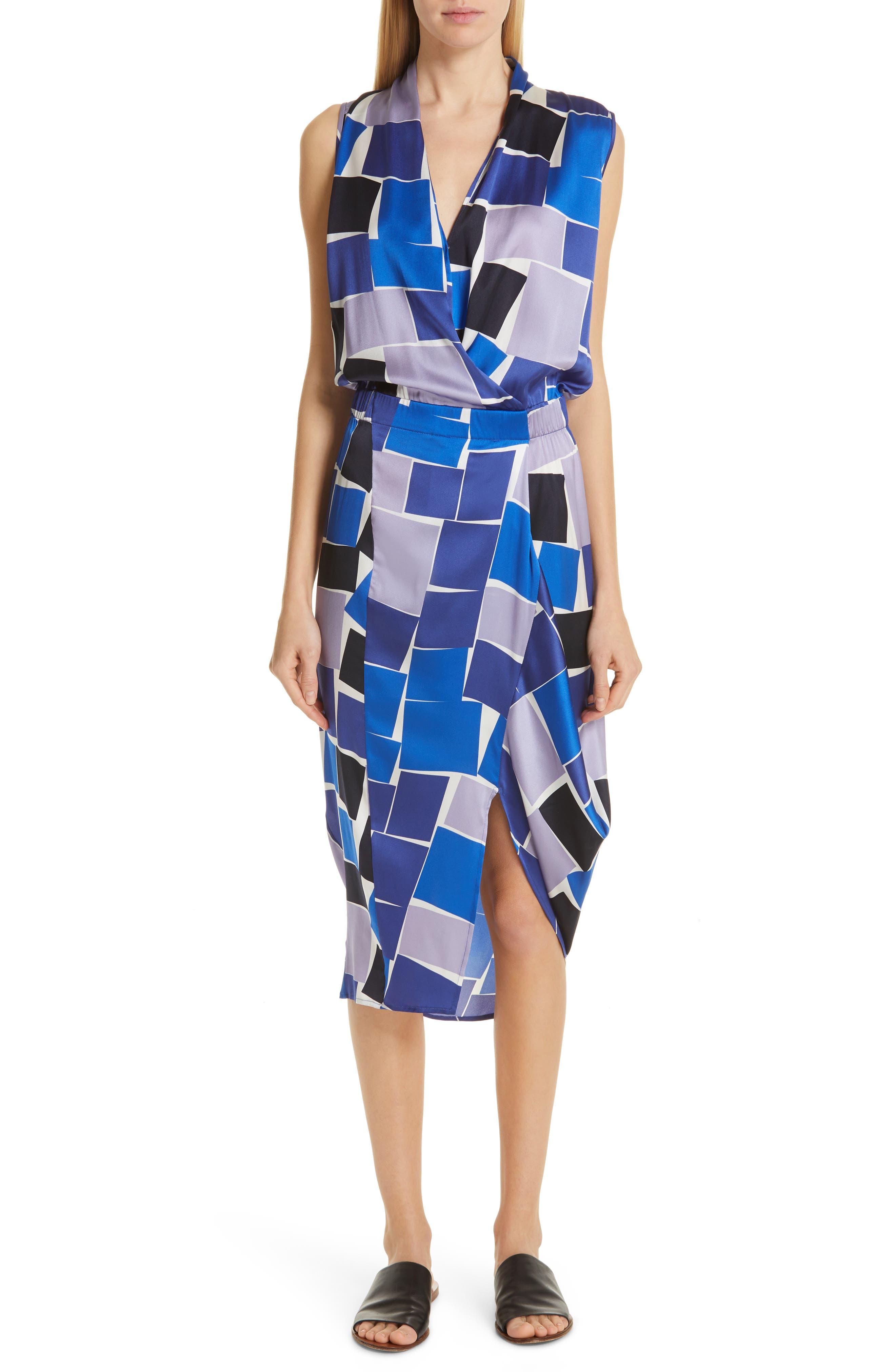 Zero + Maria Cornejo Mio Print Stretch Silk Dress, Blue