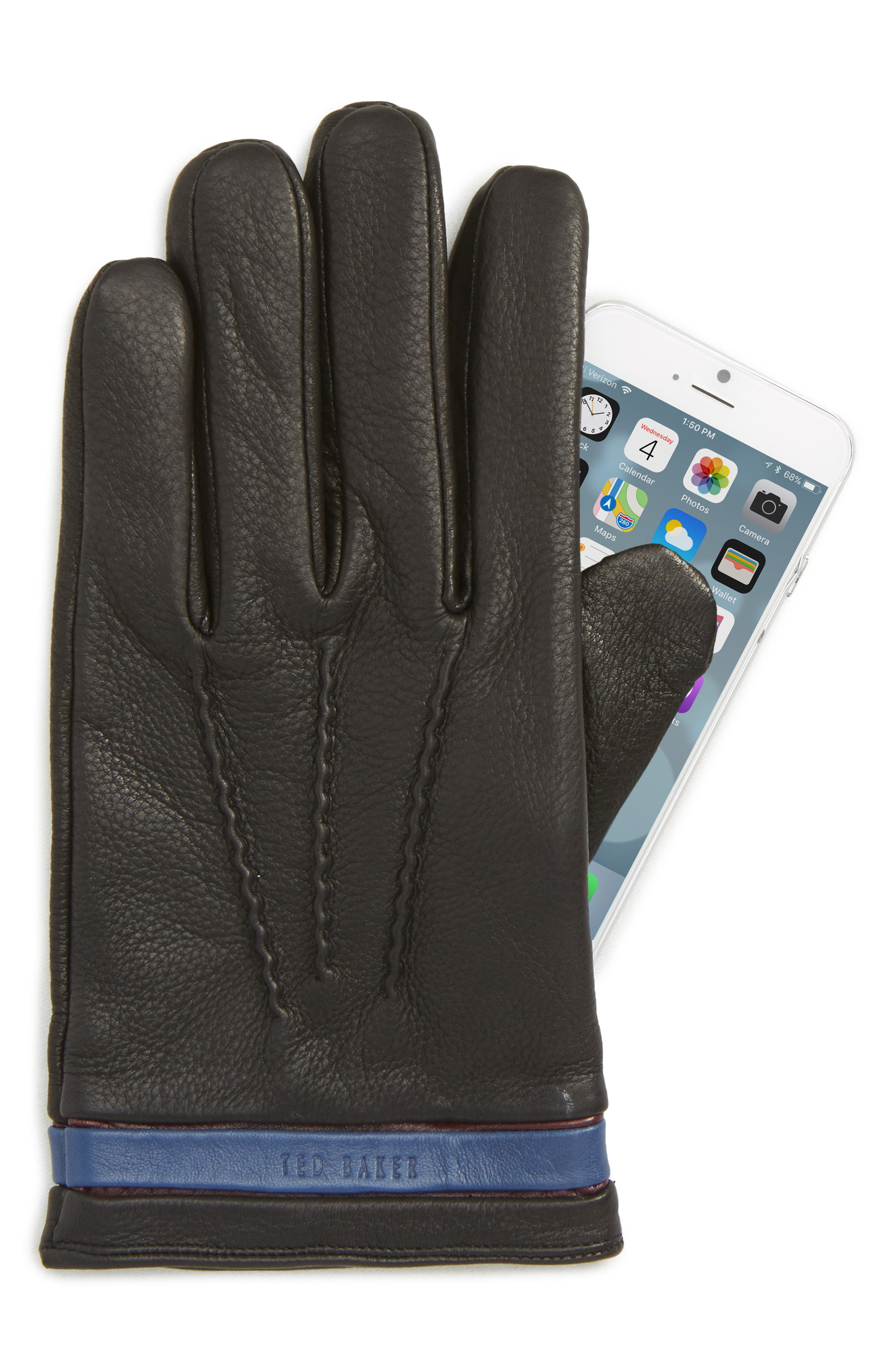 TED BAKER LONDON,                             Tipped Leather Touchscreen Gloves,                             Alternate thumbnail 2, color,                             BLACK