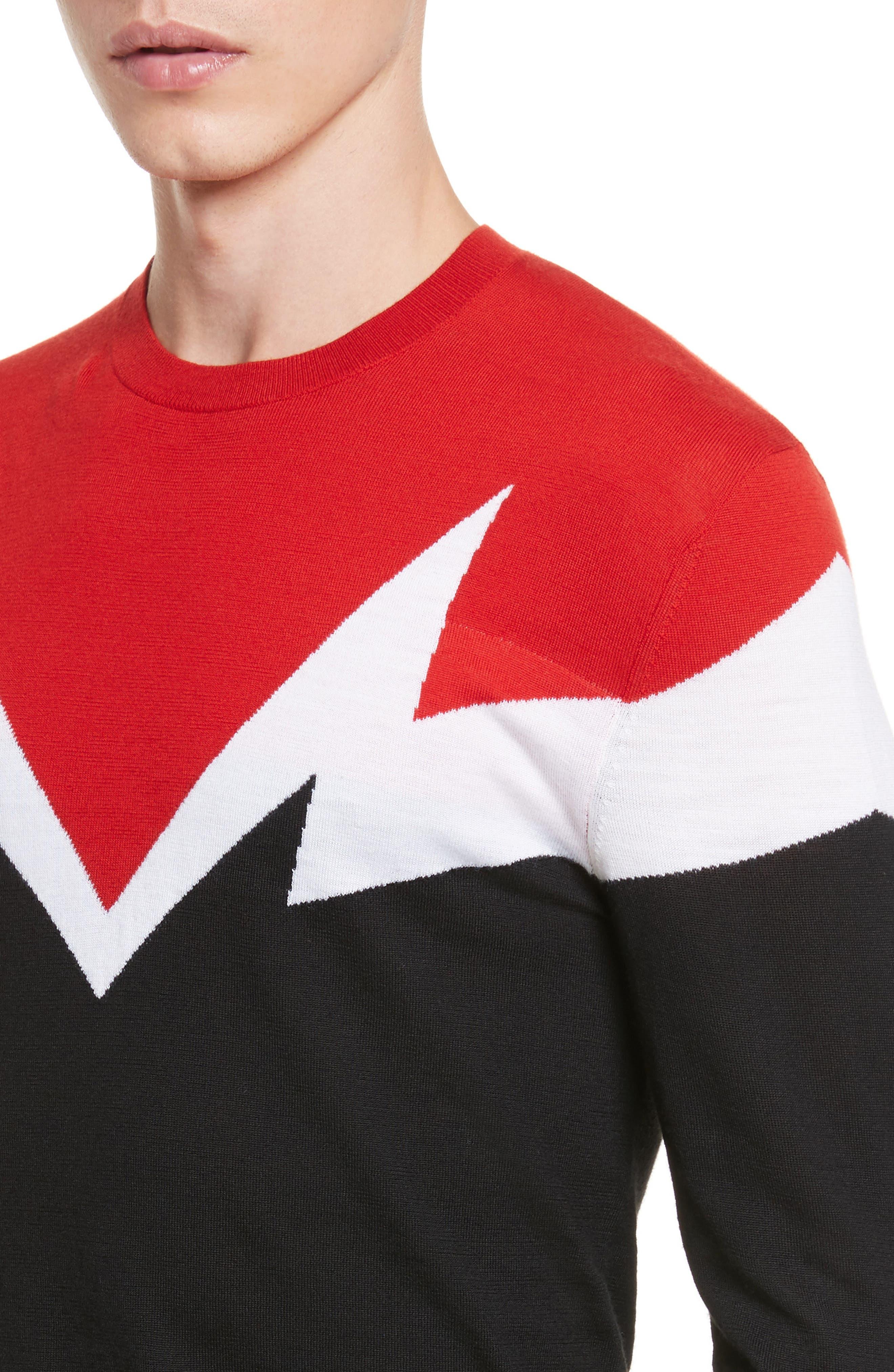 Colorblock Thunderbolt Merino Wool Sweater,                             Alternate thumbnail 4, color,