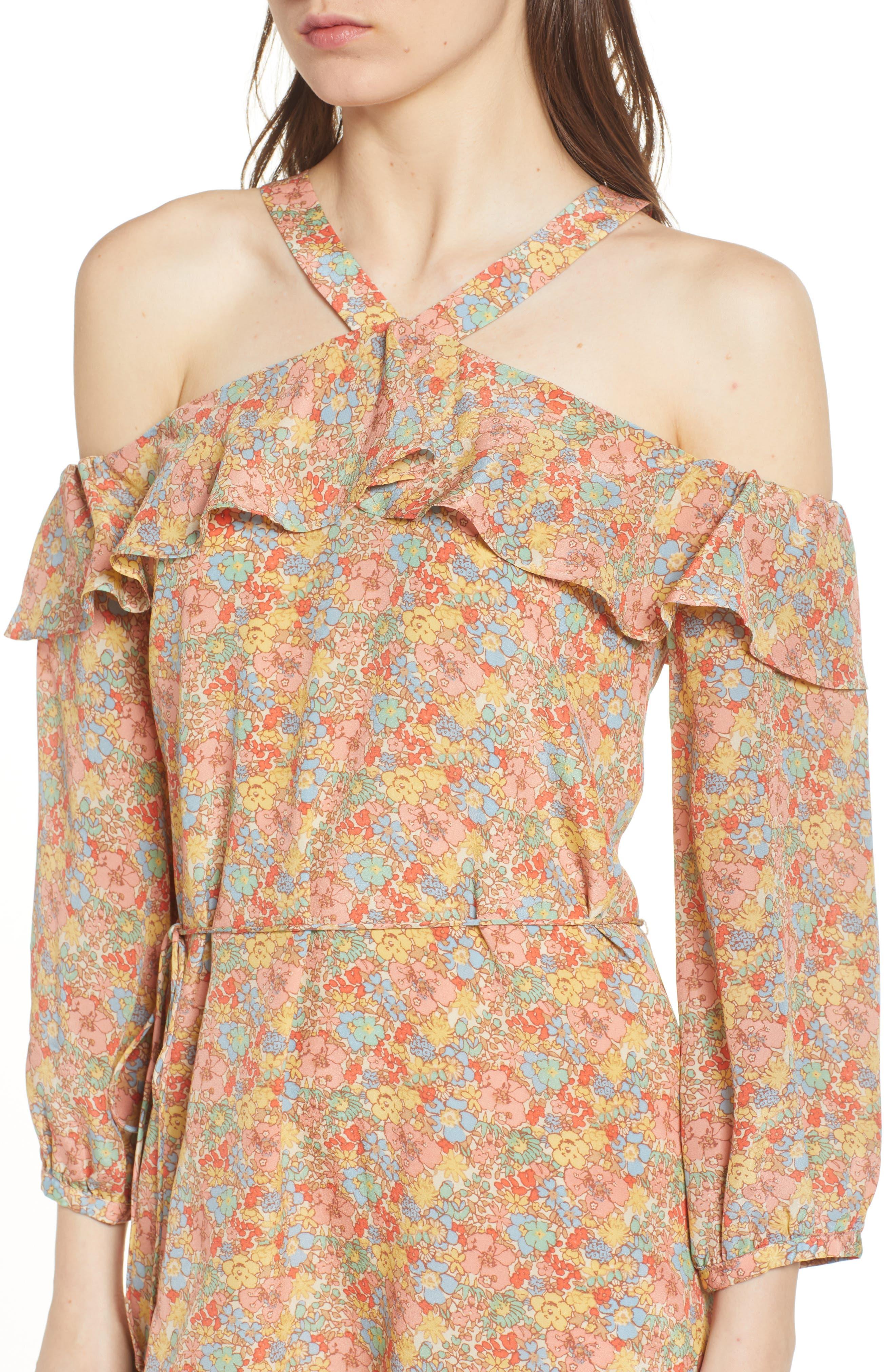 Forsythia Cold Shoulder Silk Dress,                             Alternate thumbnail 4, color,                             650