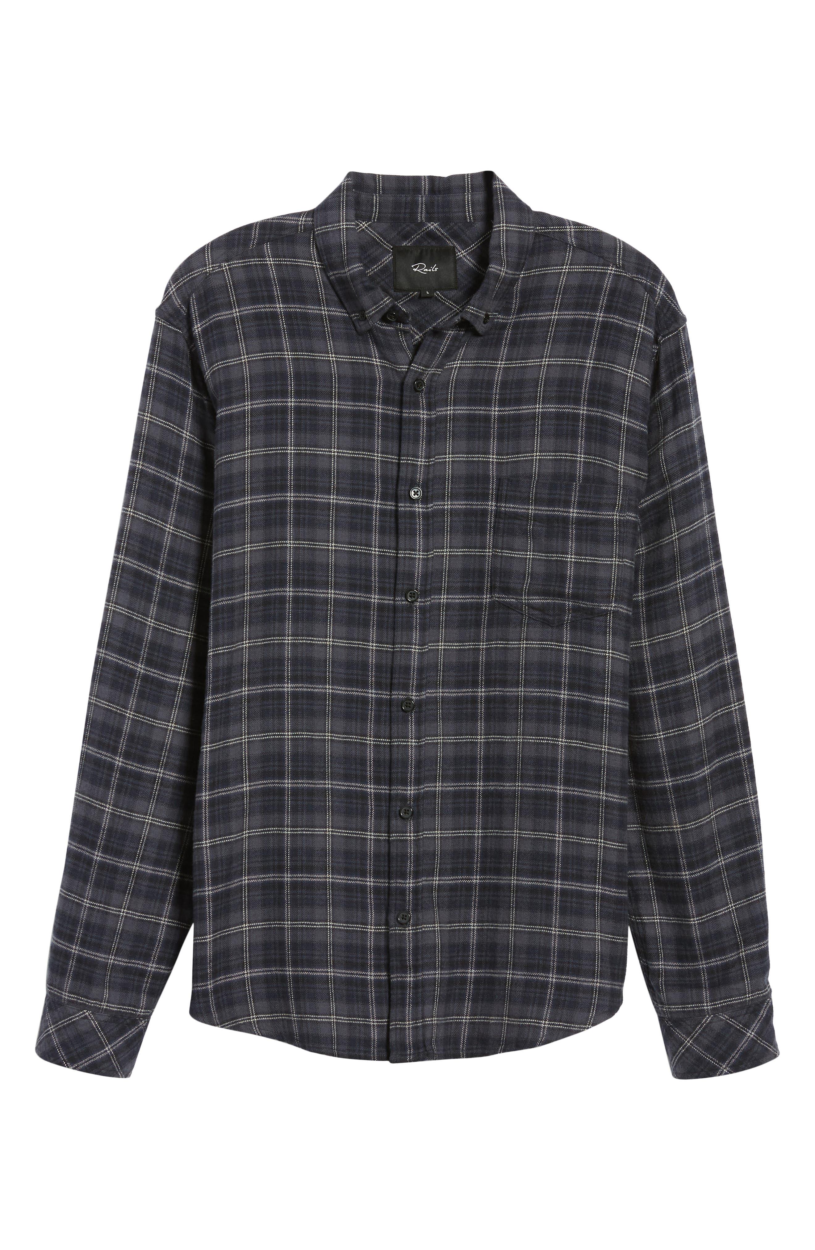 Lennox Slim Fit Plaid Sport Shirt,                             Alternate thumbnail 5, color,                             BLUE SMOKE/NAVY/BLACK
