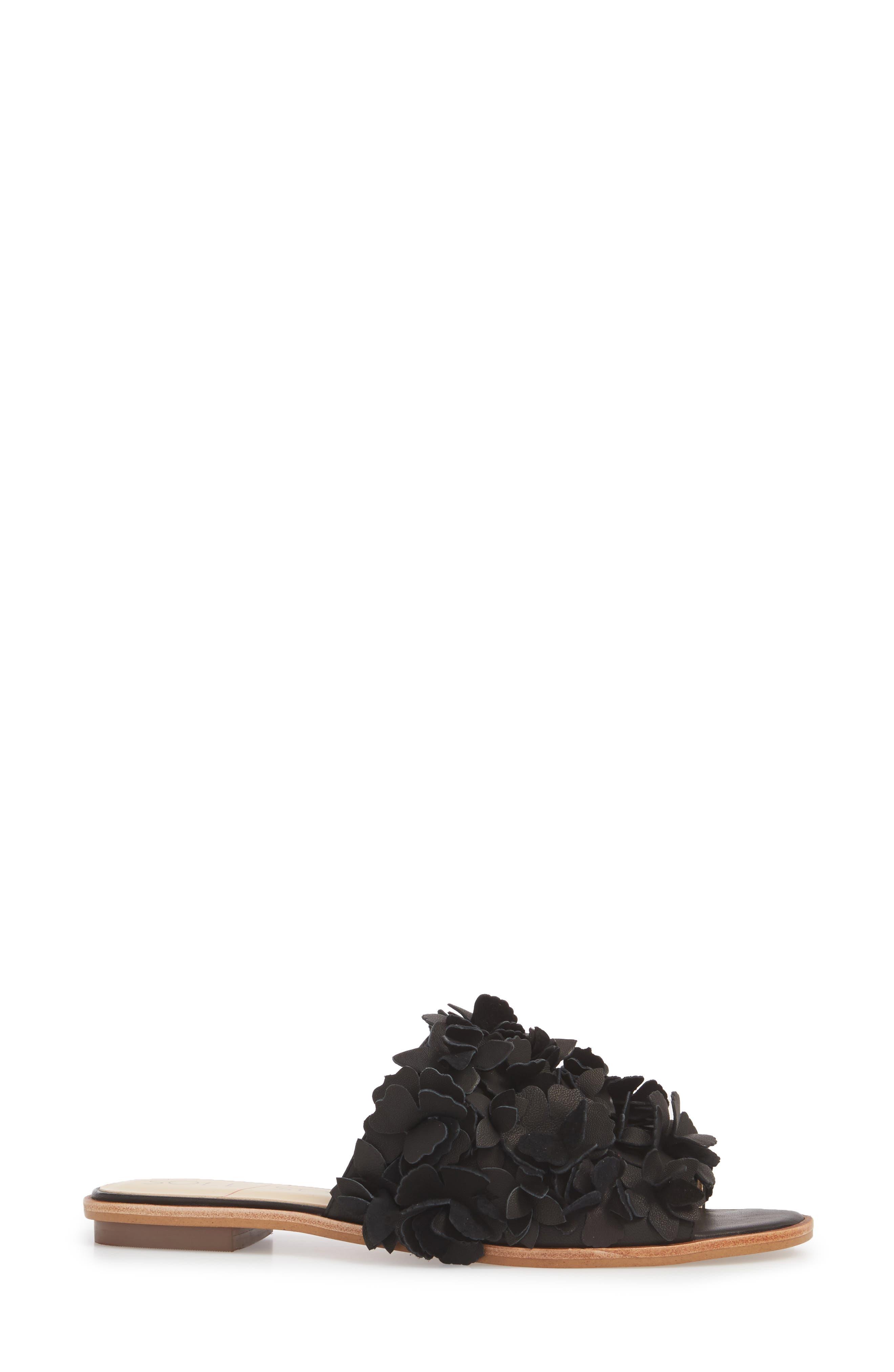 Caelyn Embellished Flat Sandal,                             Alternate thumbnail 3, color,                             BLACK