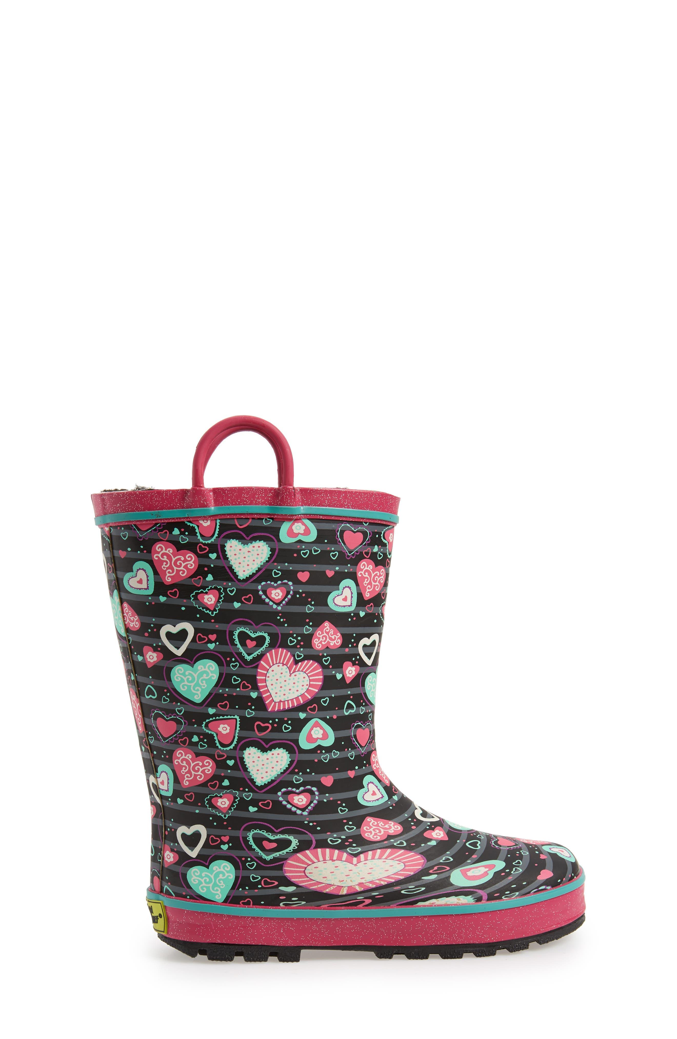 Neon Hearts Glitter Trim Waterproof Rain Boot,                             Alternate thumbnail 3, color,                             MULTI