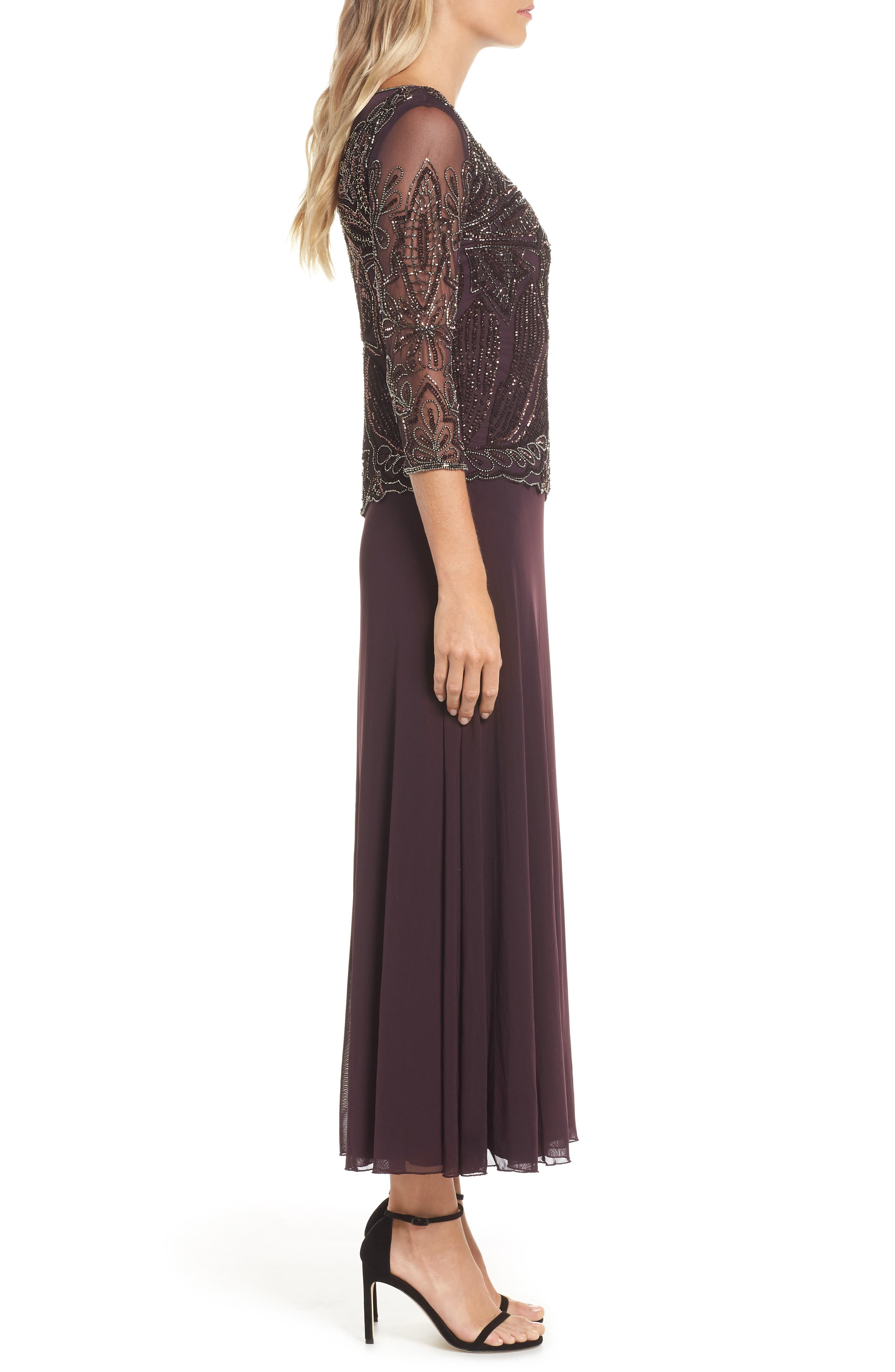 Embellished Mesh Gown,                             Alternate thumbnail 3, color,                             NEW WINE 2