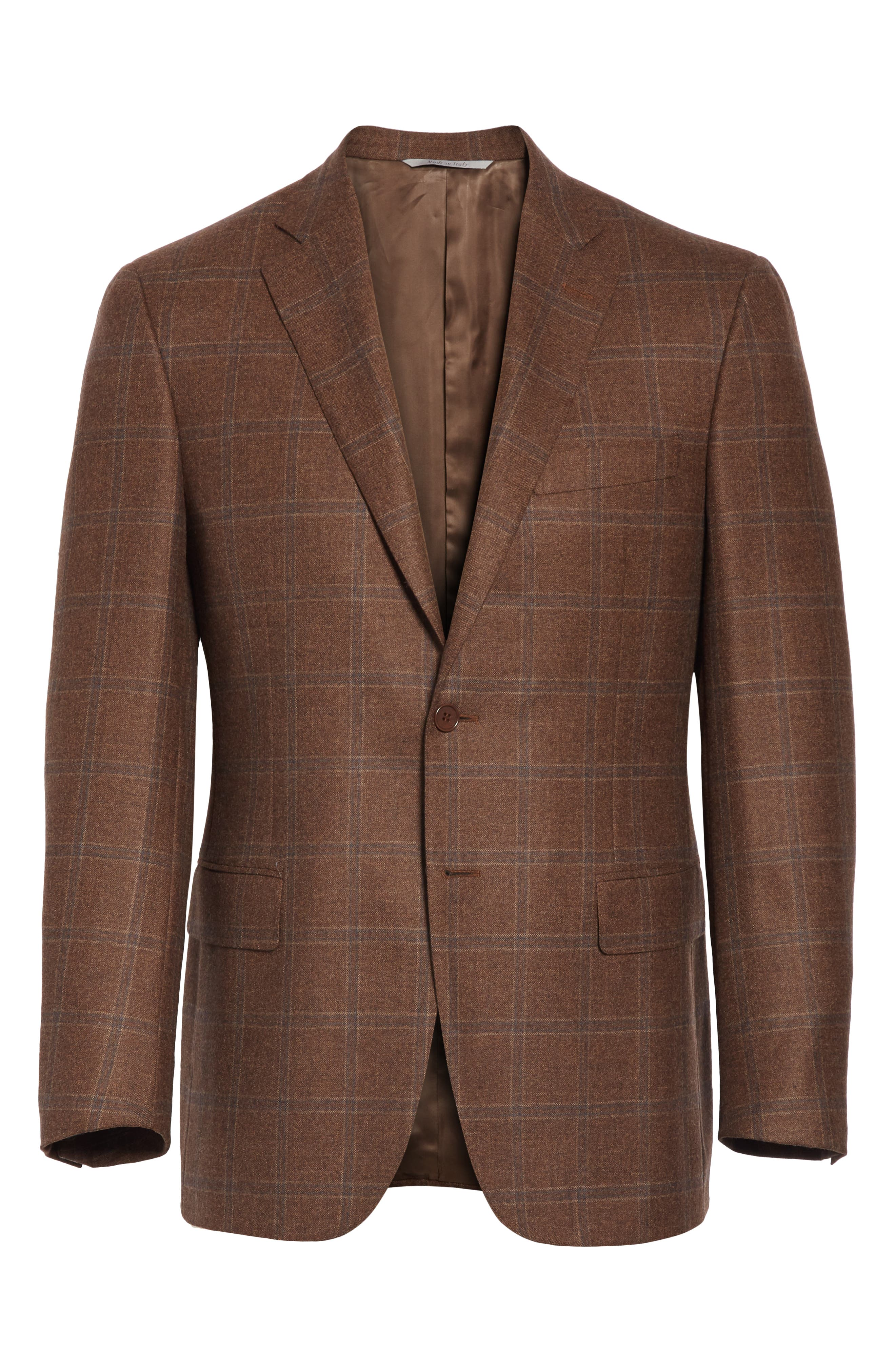 Classic Fit Windowpane Wool Sport Coat,                             Alternate thumbnail 5, color,                             MED BROWN