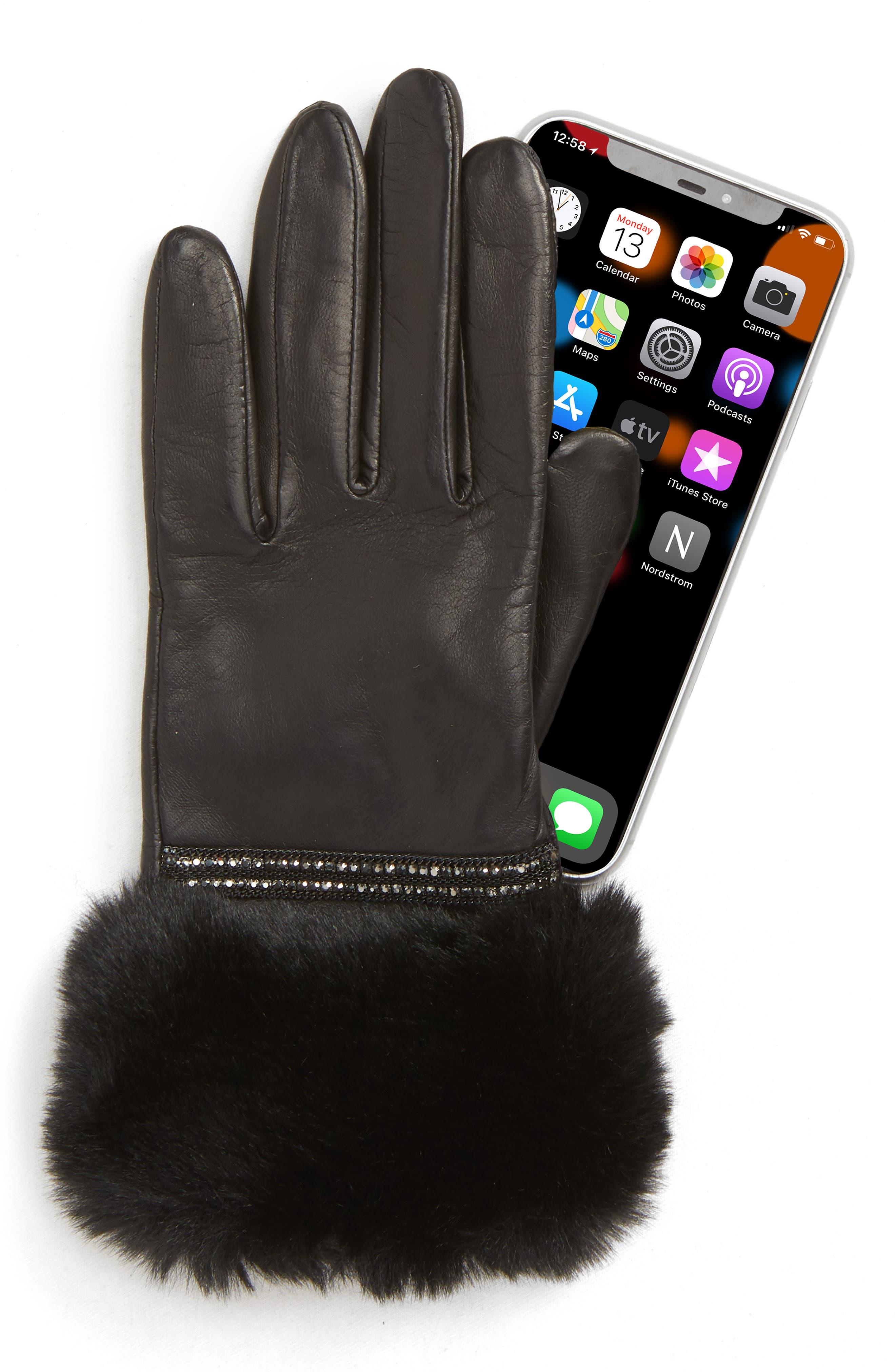 Badgley Mischka Faux Fur Trim Leather Touchscreen Gloves,                             Alternate thumbnail 2, color,                             BLACK