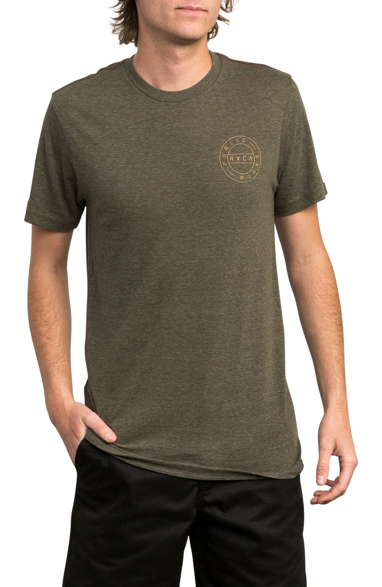 Public Works Graphic T-Shirt,                         Main,                         color, OLIVE HEATHER