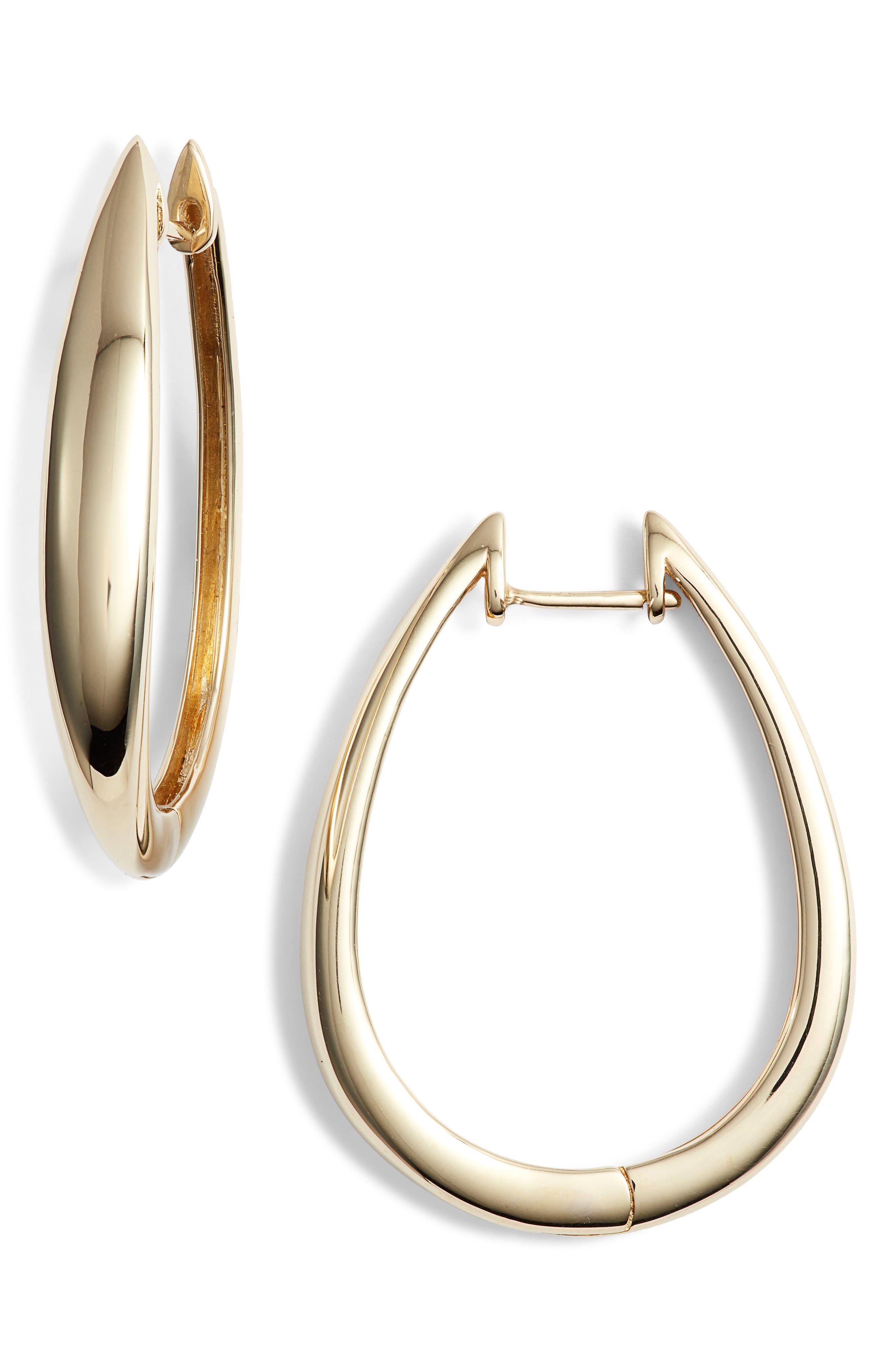 14K Gold Hoop Earrings,                         Main,                         color, YELLOW GOLD/ DIA