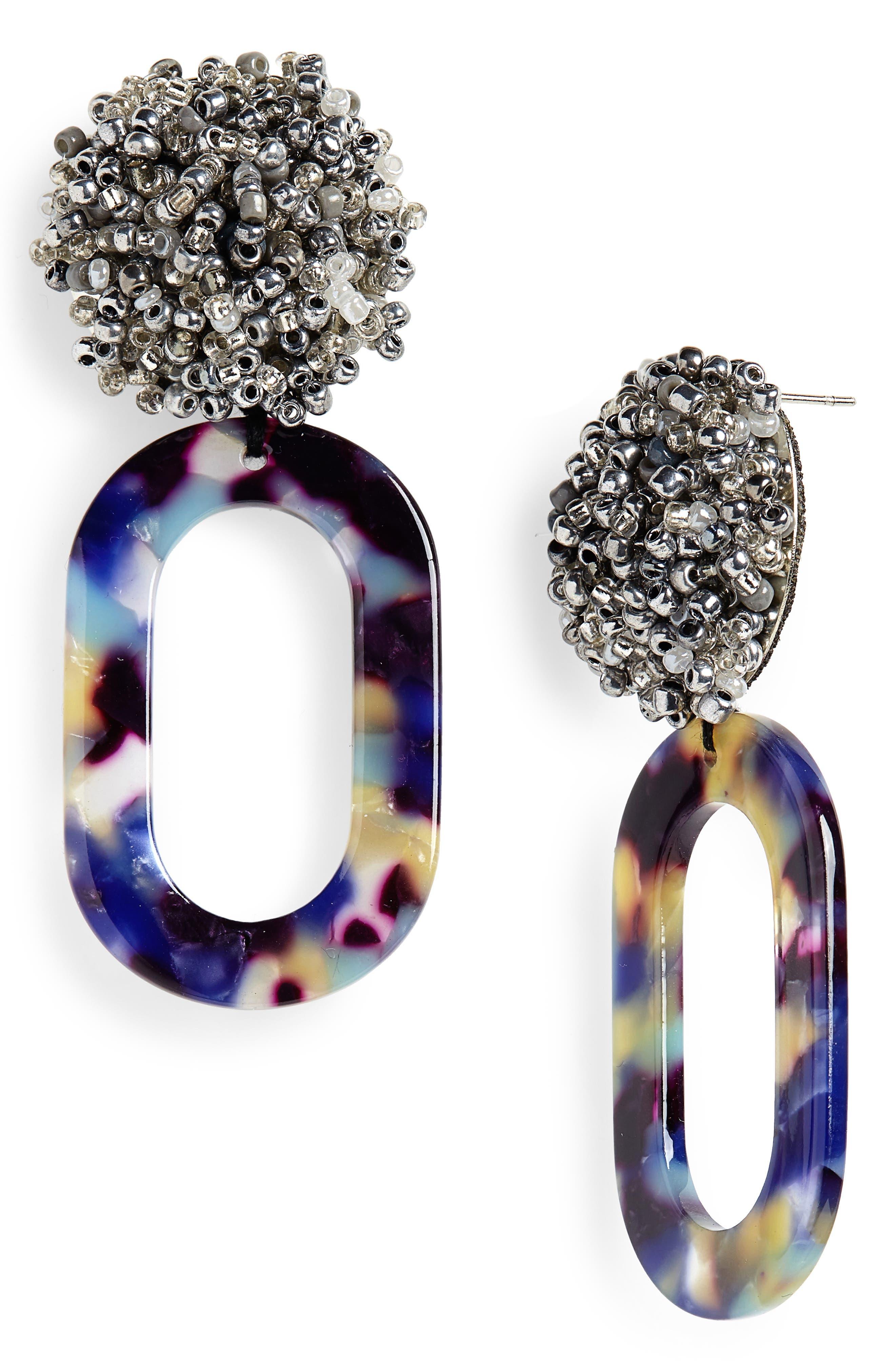 SEREFINA Bead & Hoop Drop Earrings in Blue
