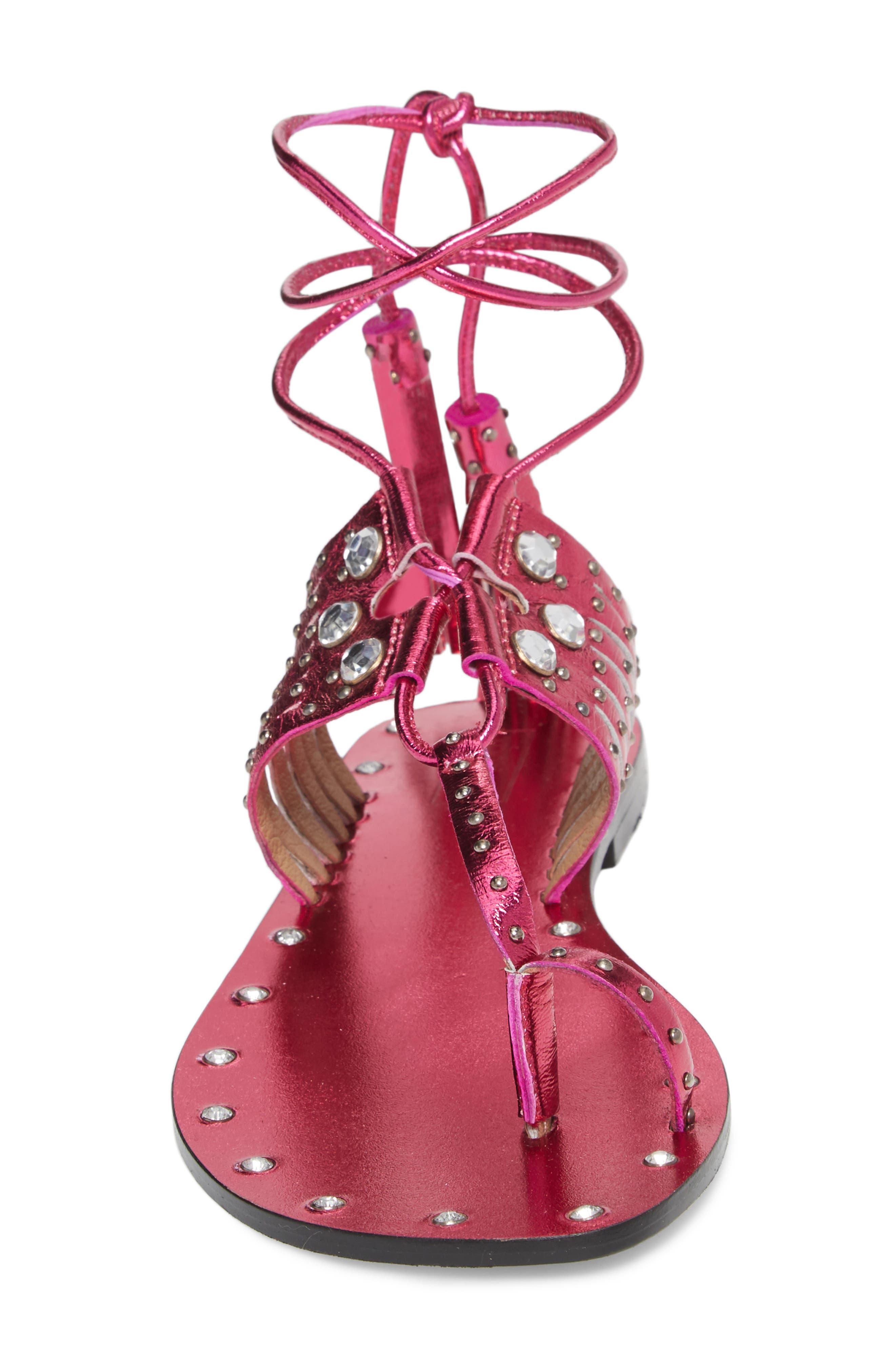 Fay Embellished Wraparound Sandal,                             Alternate thumbnail 12, color,