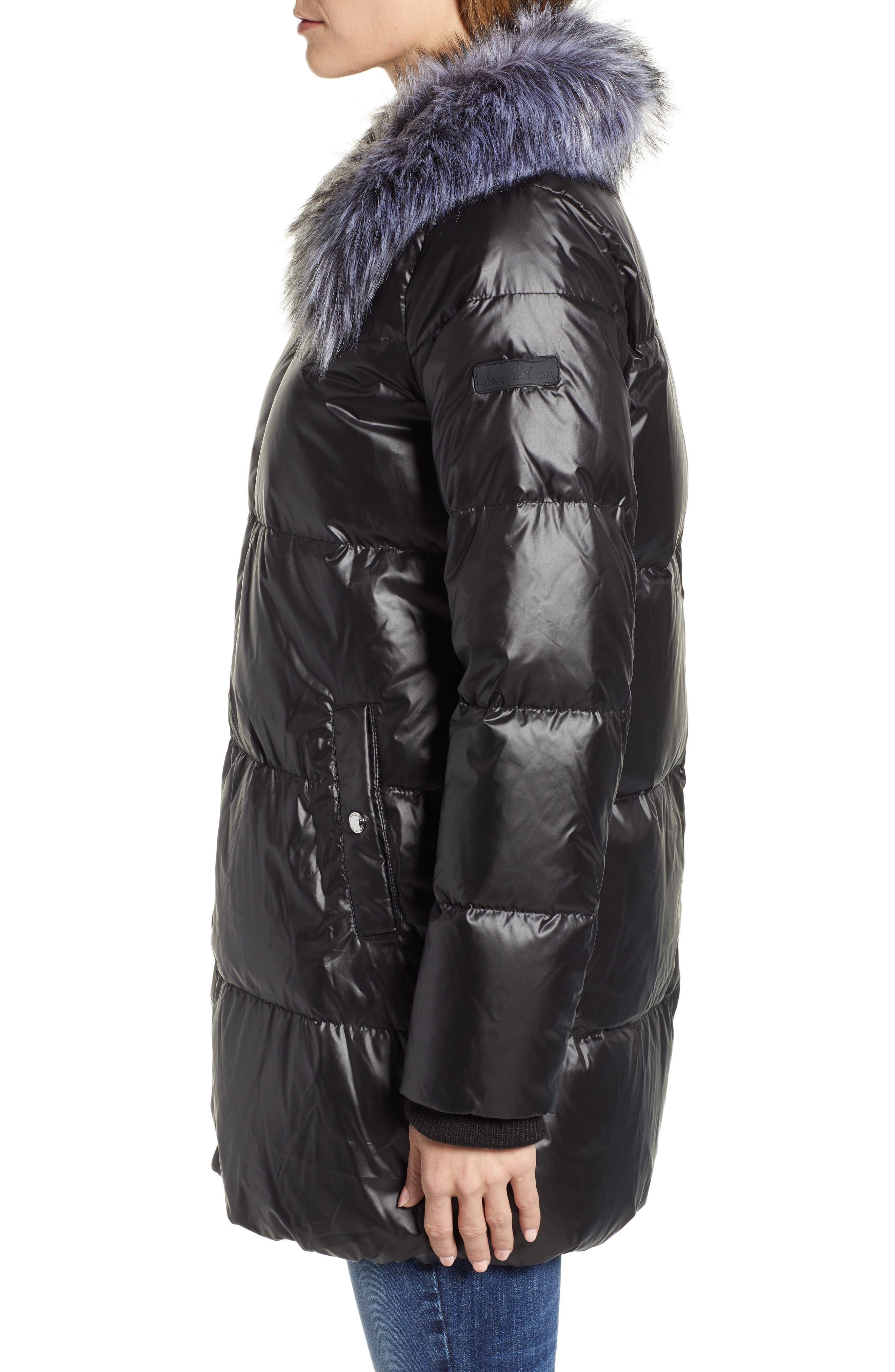 SAM EDELMAN,                             Cire Faux Fur Trim Down Quilted Coat,                             Alternate thumbnail 3, color,                             BLACK