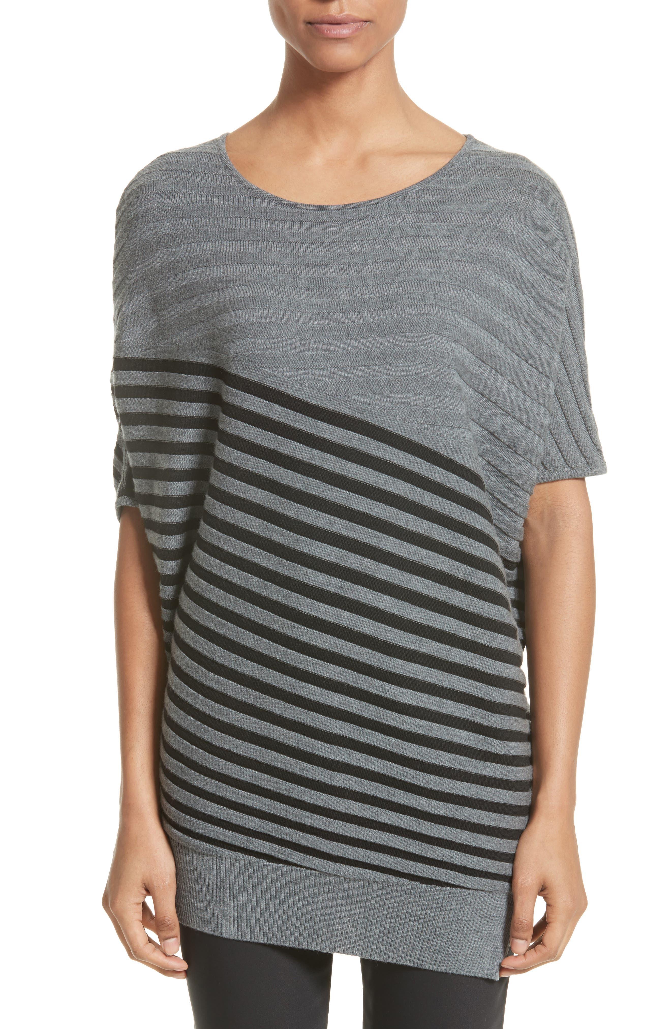 Stripe Wool Asymmetrical Sweater,                             Alternate thumbnail 6, color,                             030