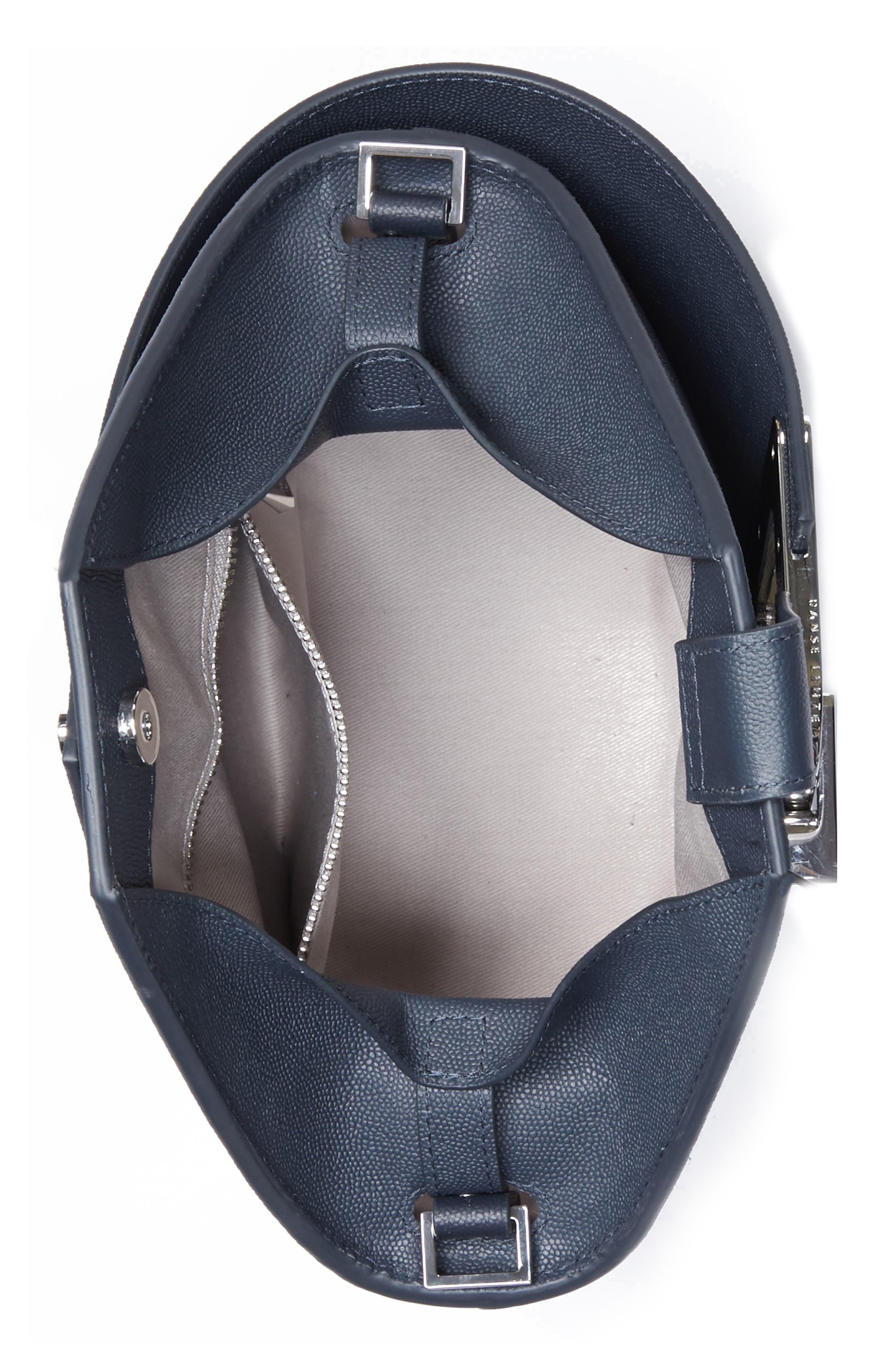 Mini Johnny Leather Bucket Bag,                             Alternate thumbnail 4, color,                             MARINE