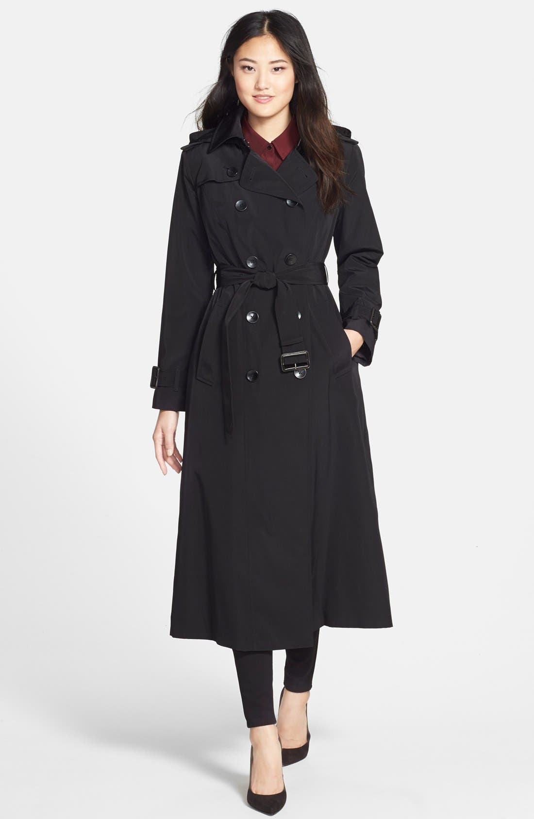 Long Trench Coat with Removable Hood,                             Main thumbnail 1, color,                             001