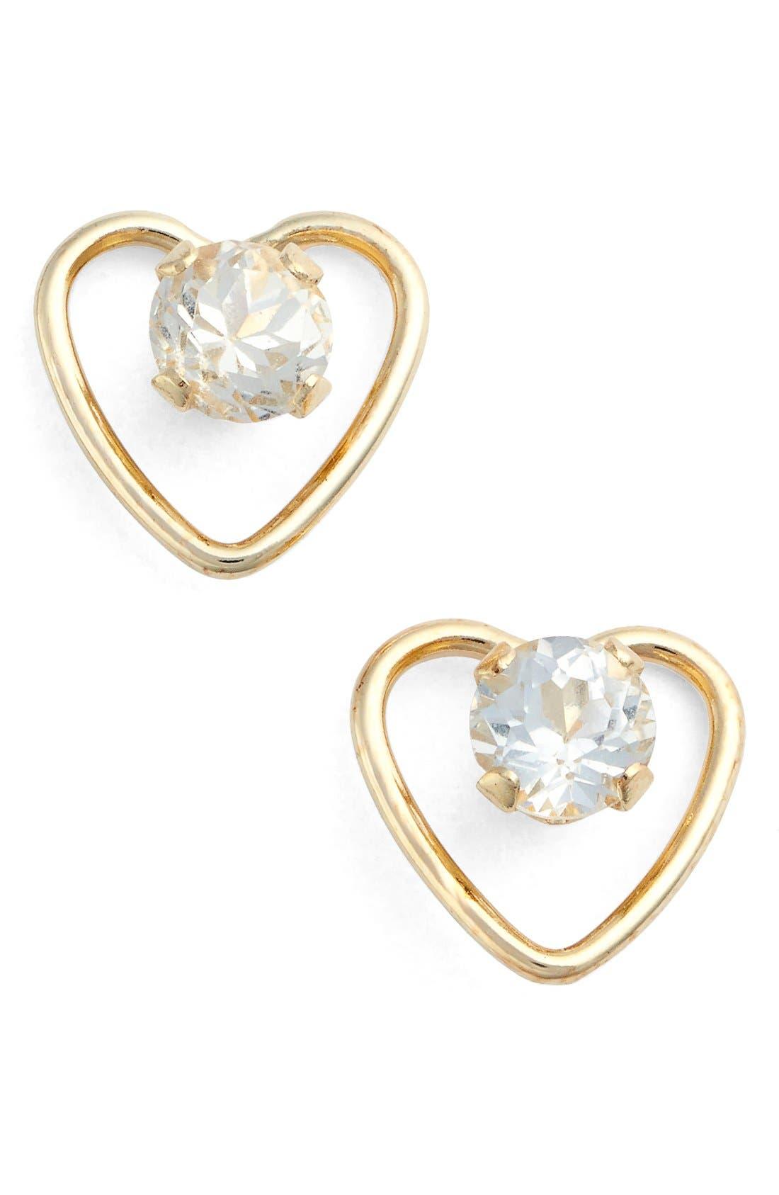 Cubic Zirconia Heart Earrings,                         Main,                         color, YELLOW GOLD