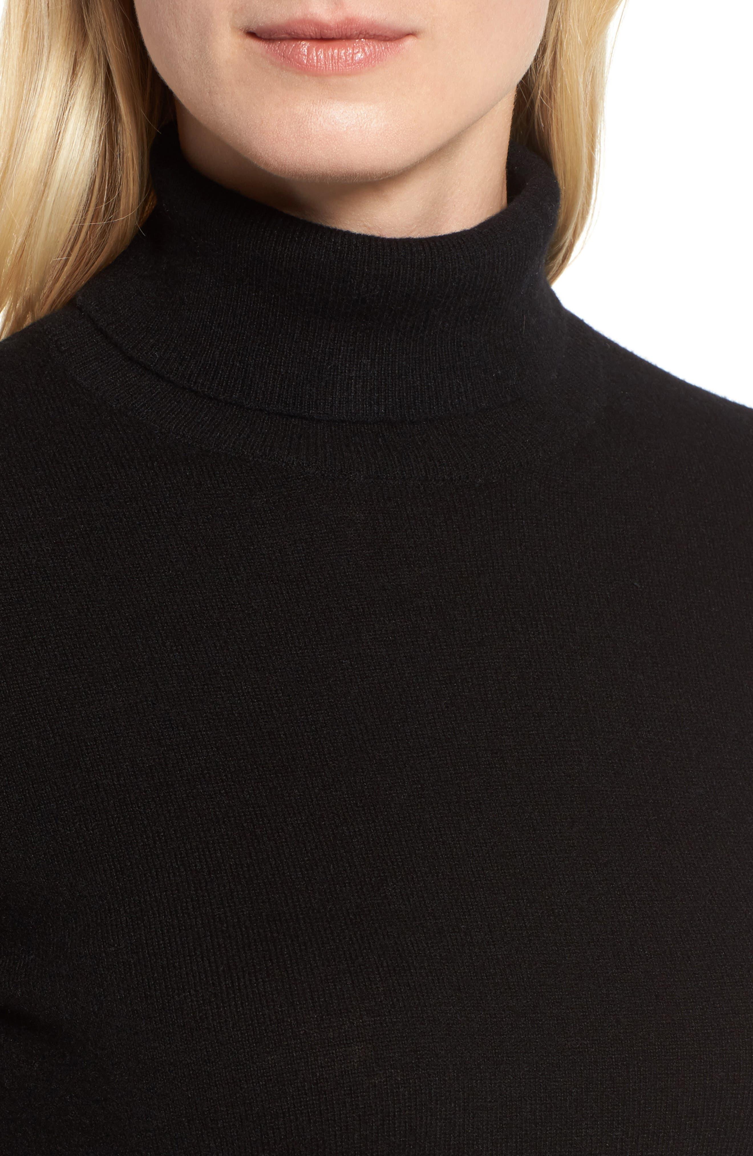 Turtleneck Cashmere Sweater,                             Alternate thumbnail 4, color,                             BLACK