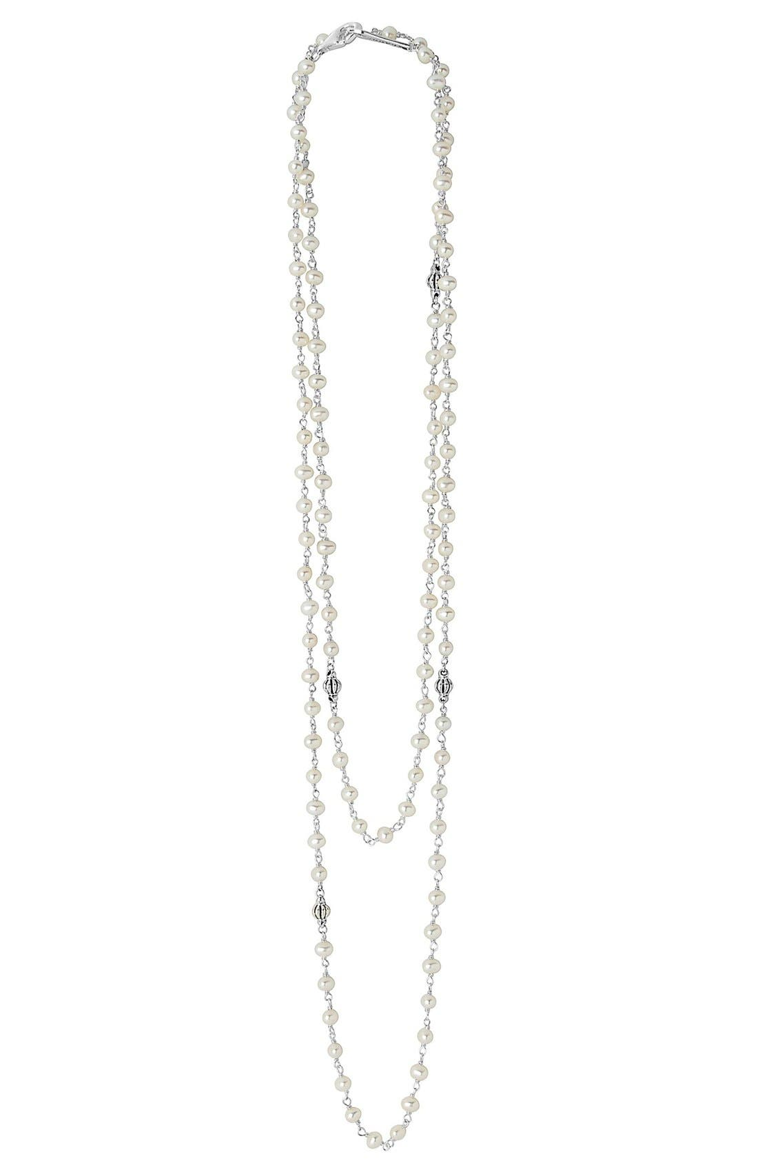 'Luna' Long Pearl Necklace,                         Main,                         color, SILVER/ PEARL