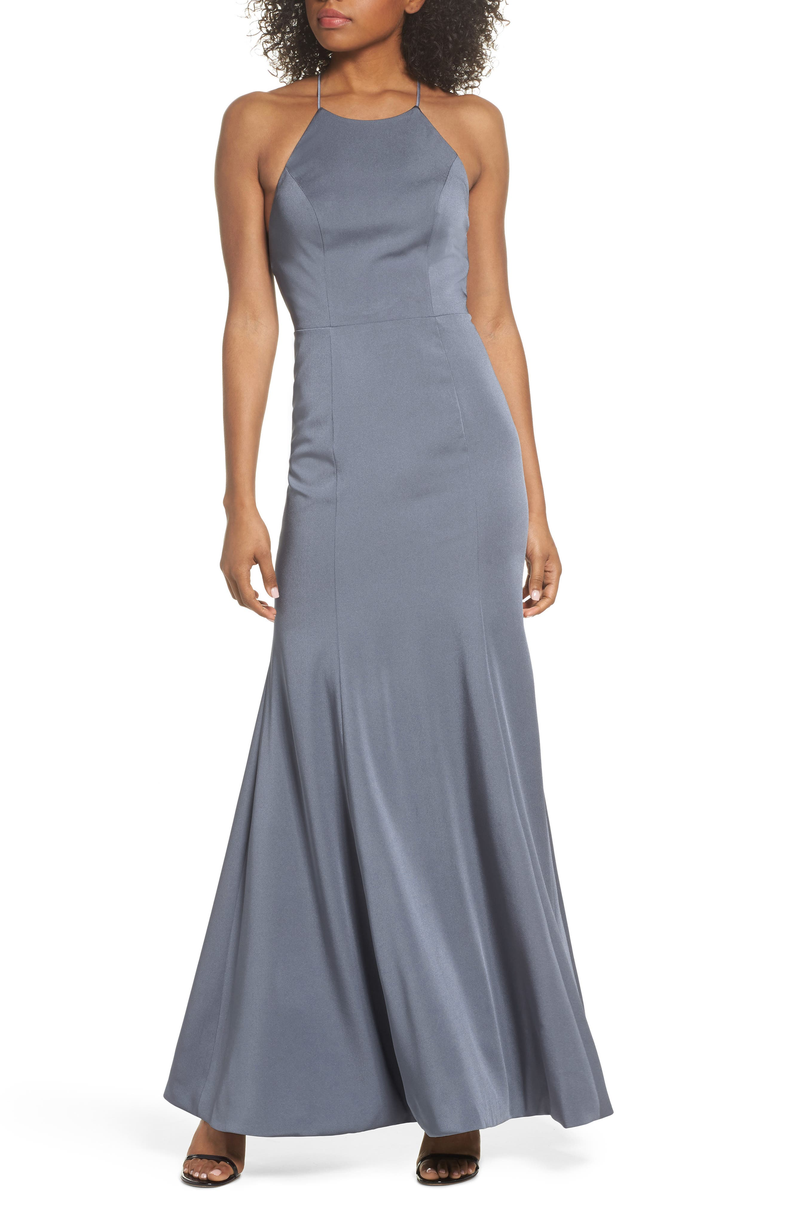 Naomi Luxe Crepe Halter Gown,                             Main thumbnail 1, color,                             HYDRANGEA