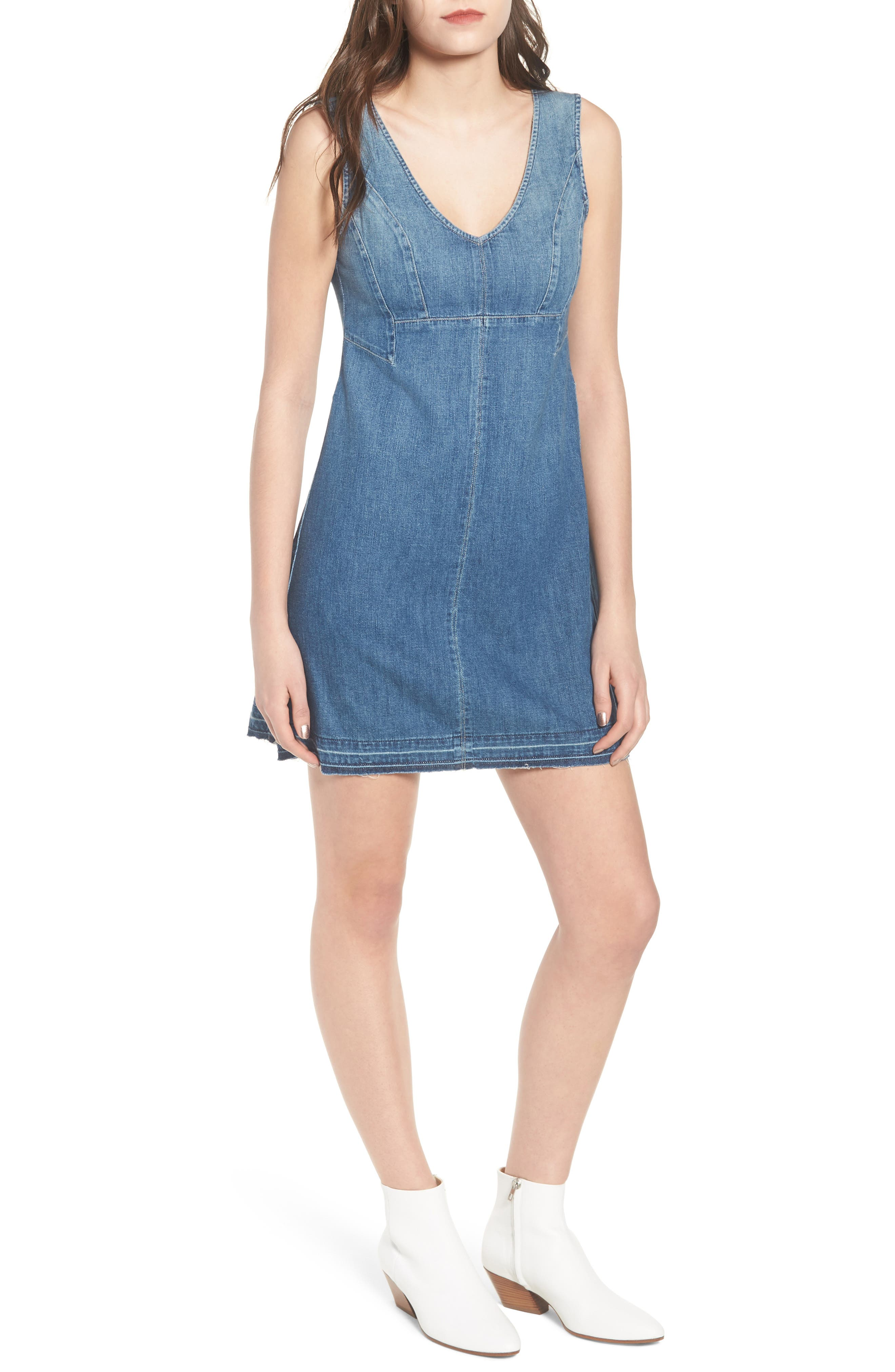 Dana Denim A-Line Minidress,                         Main,                         color, LIBERTY