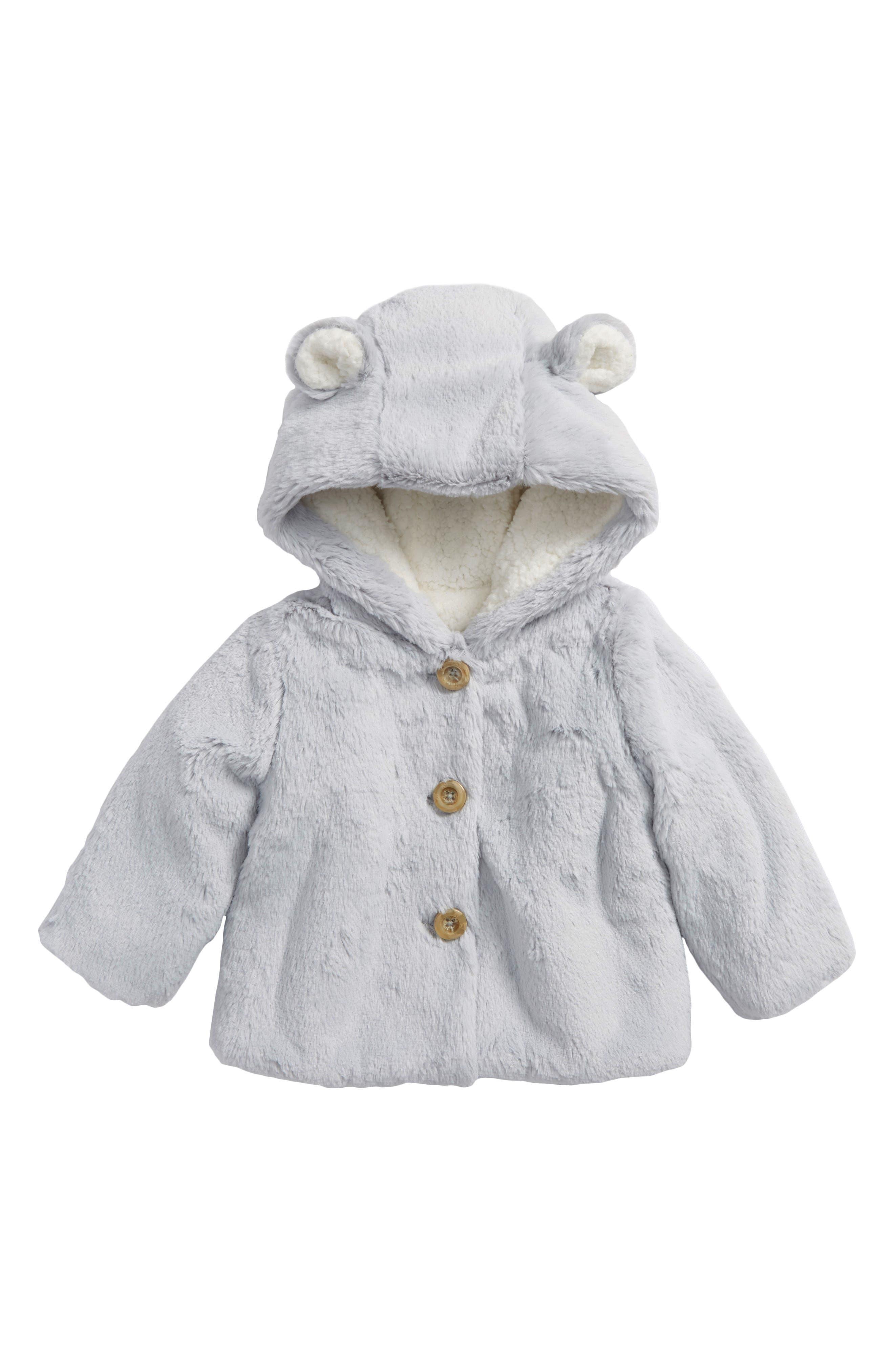Fluffy Bear Hooded Jacket,                             Main thumbnail 1, color,                             GREY MICRO