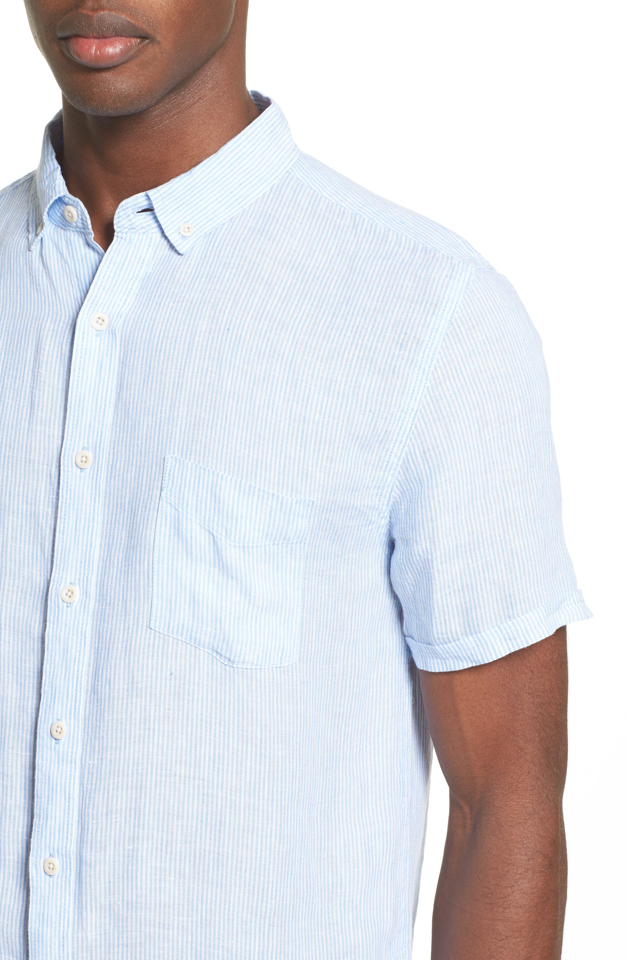 Trim Fit Microstripe Linen Shirt,                             Alternate thumbnail 10, color,