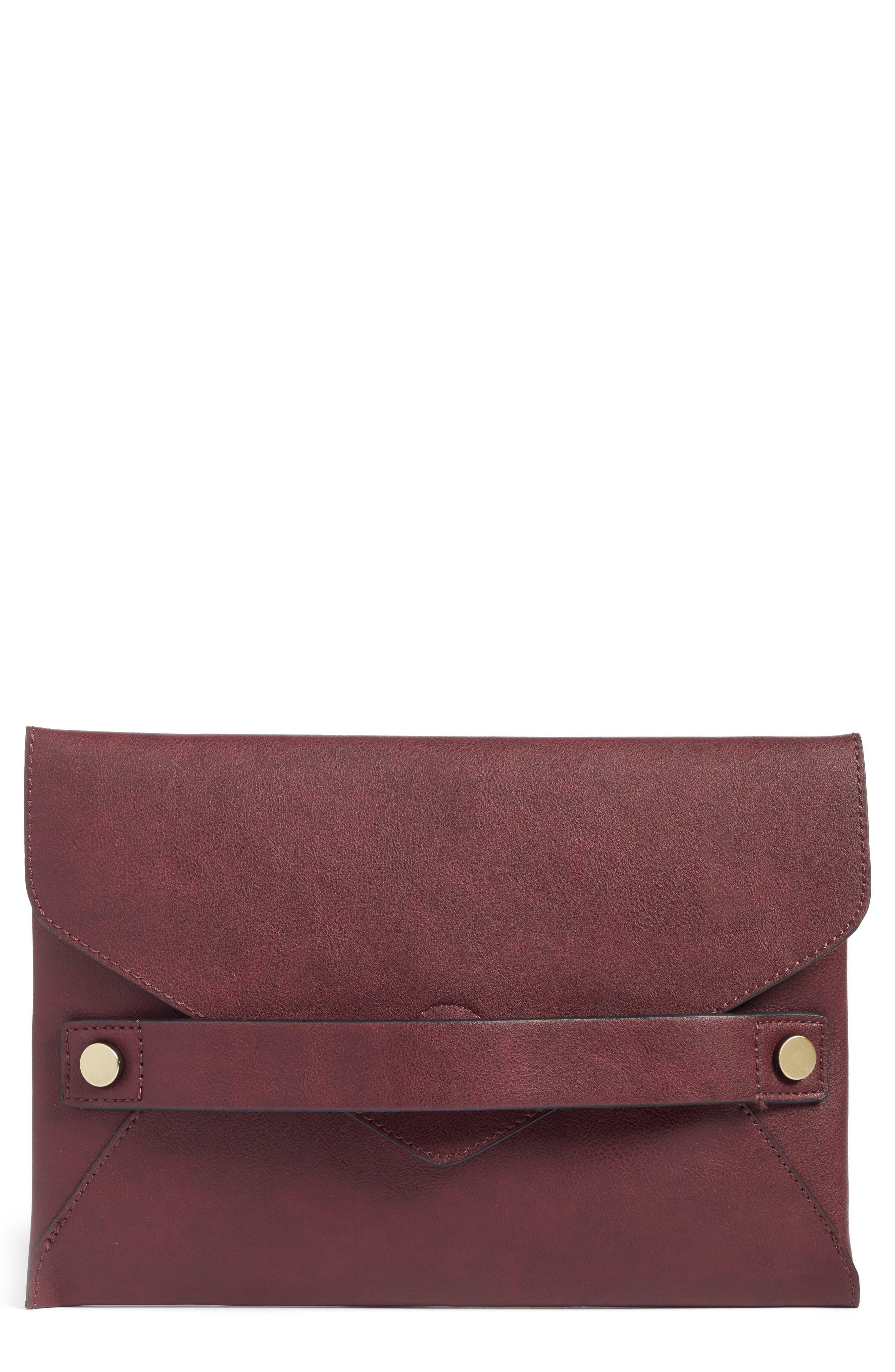 Karen Faux Leather Envelope Clutch,                             Main thumbnail 3, color,
