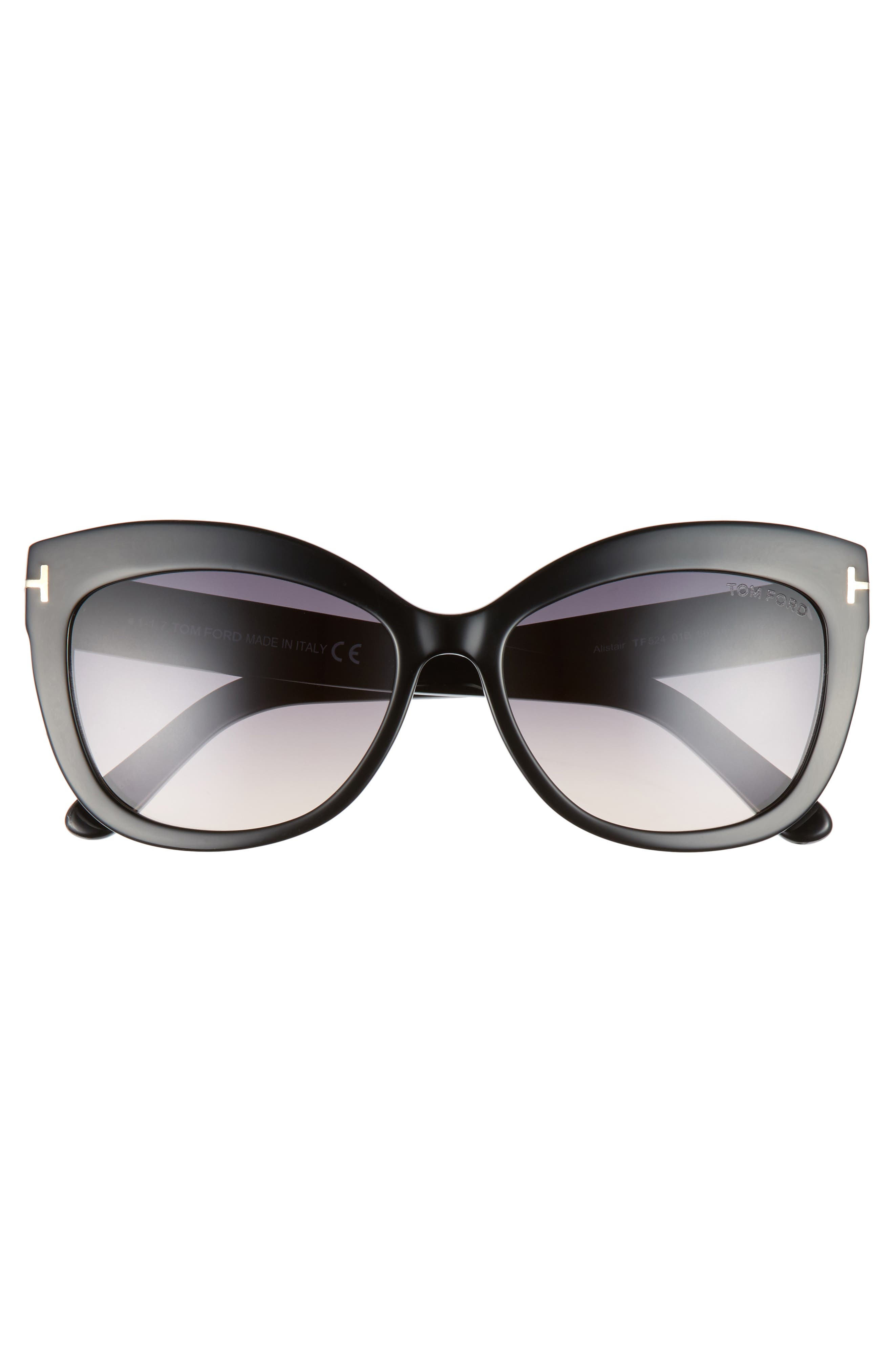 Alistair 56mm Gradient Sunglasses,                             Alternate thumbnail 3, color,                             SHINY BLACK / GRADIENT SMOKE