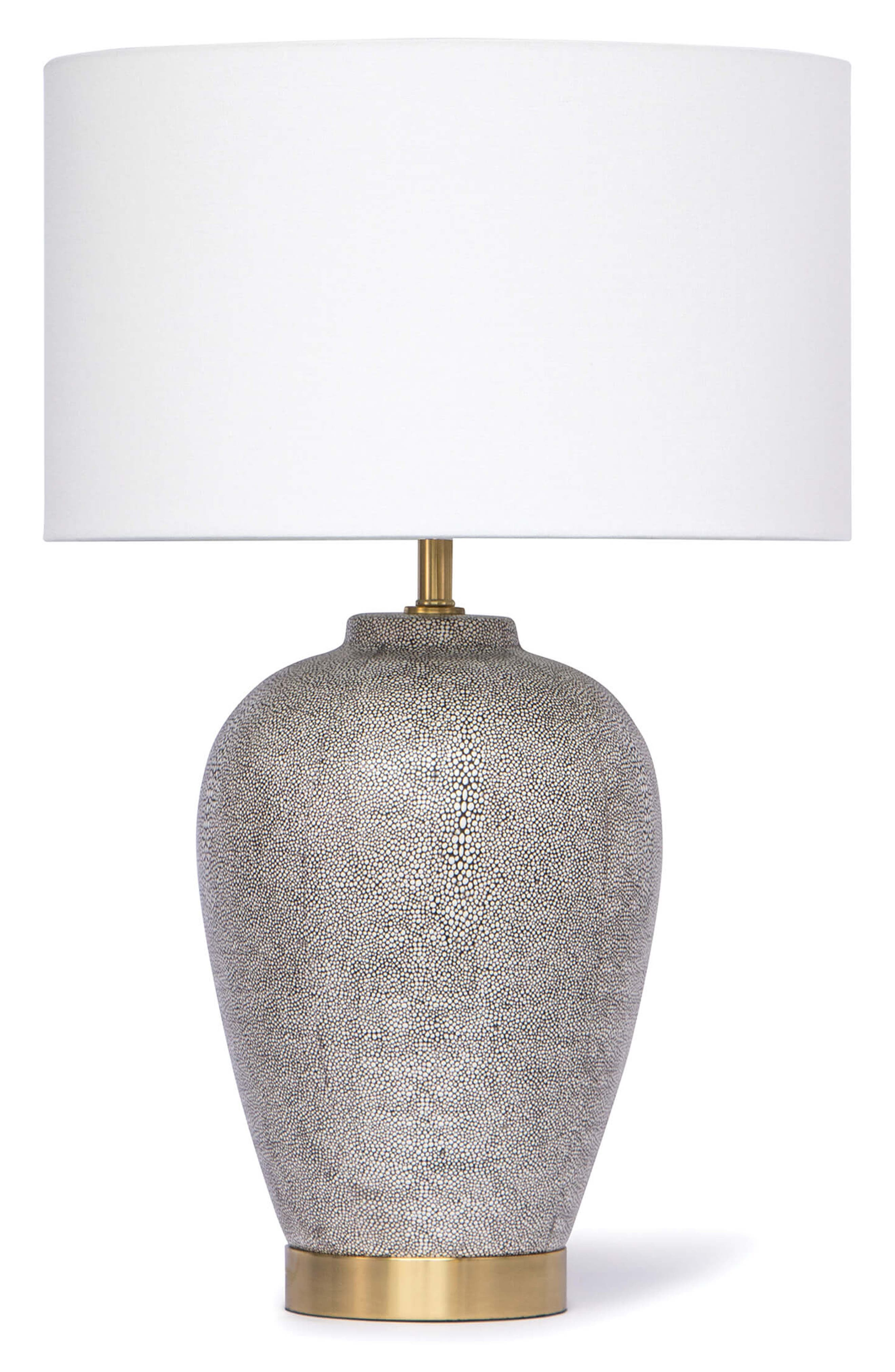 Presley Shagreen Ceramic Table Lamp,                         Main,                         color, CHARCOAL