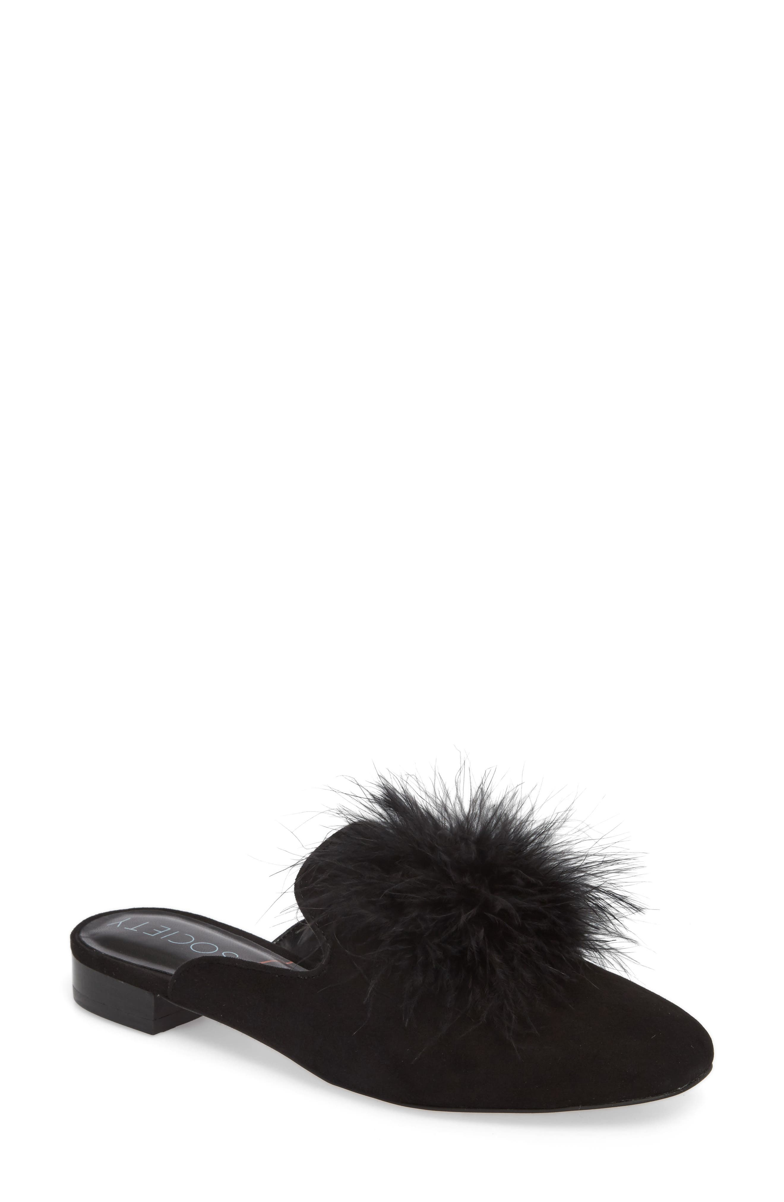 Cleona Feather Pompom Mule,                         Main,                         color, 001