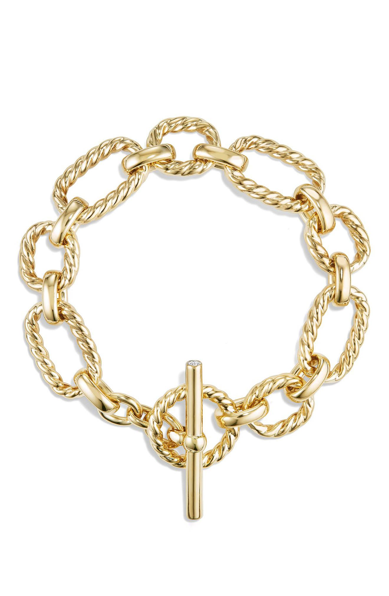 'Chain' Cushion Link Bracelet with Diamonds in 18K Gold,                             Alternate thumbnail 3, color,                             GOLD