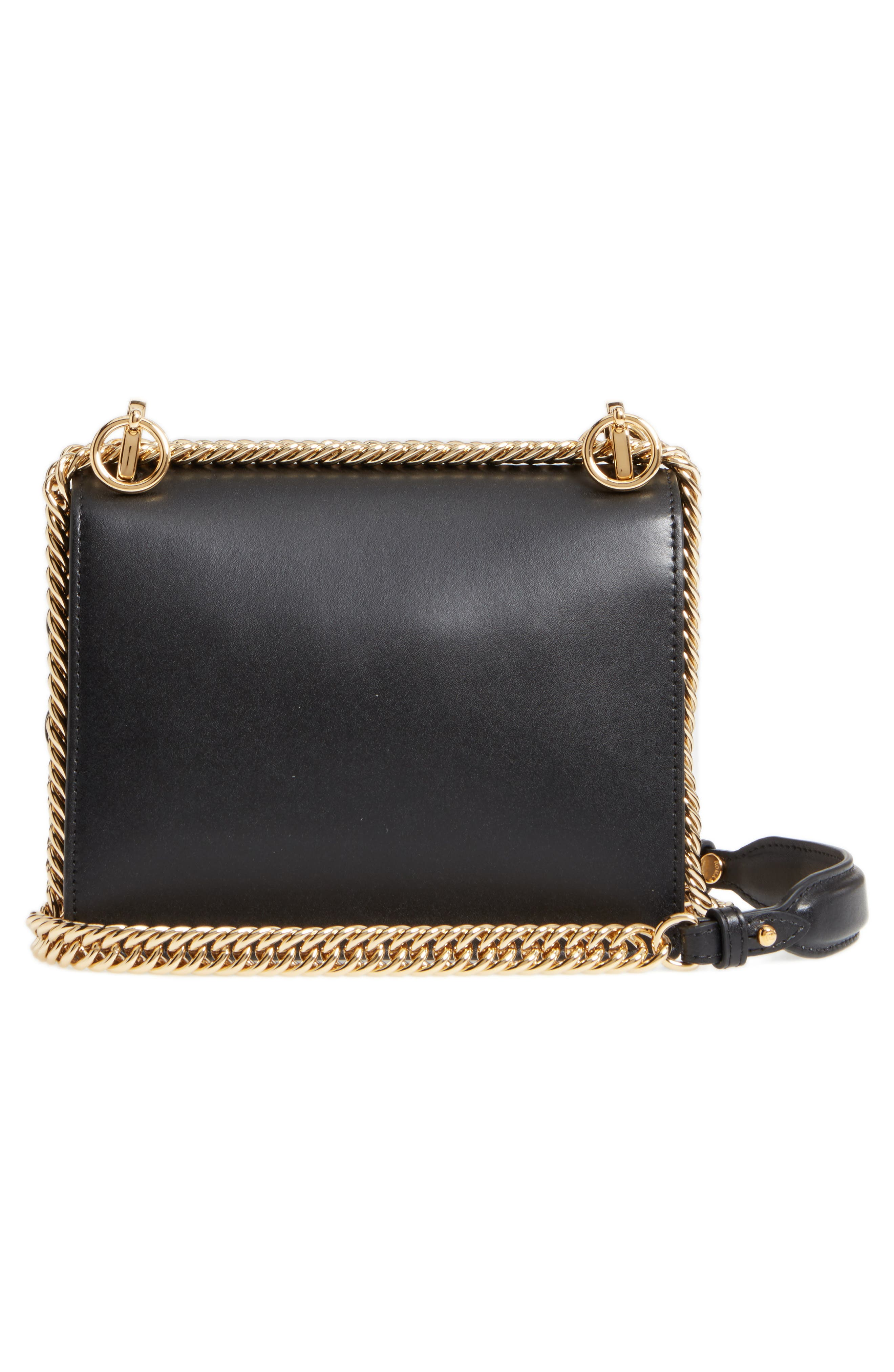 Small Kan I Scallop Leather Shoulder Bag,                             Alternate thumbnail 3, color,                             NERO/ ORO SOFT
