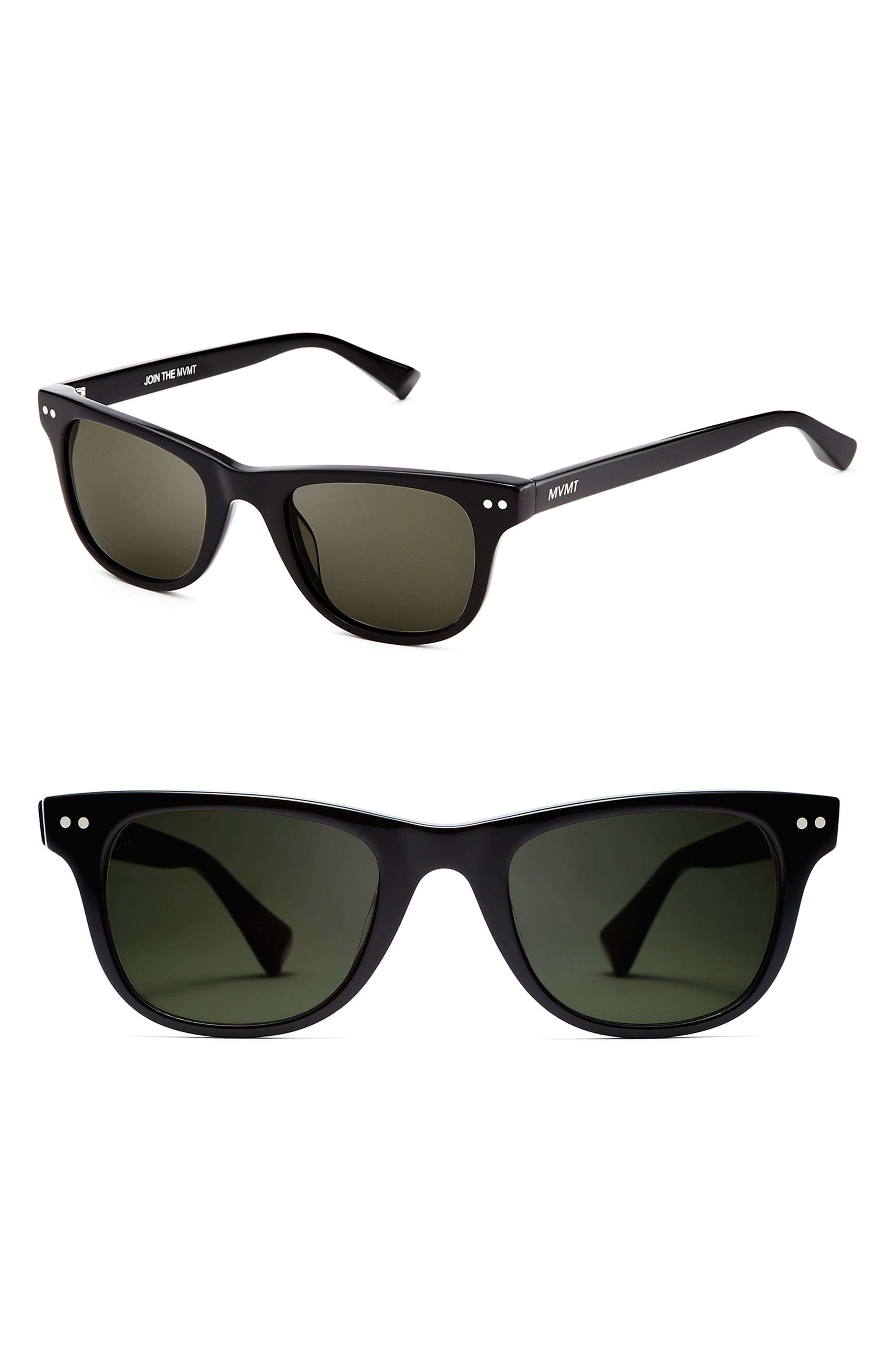 Outsider 51mm Polarized Sunglasses,                             Main thumbnail 1, color,                             PURE BLACK