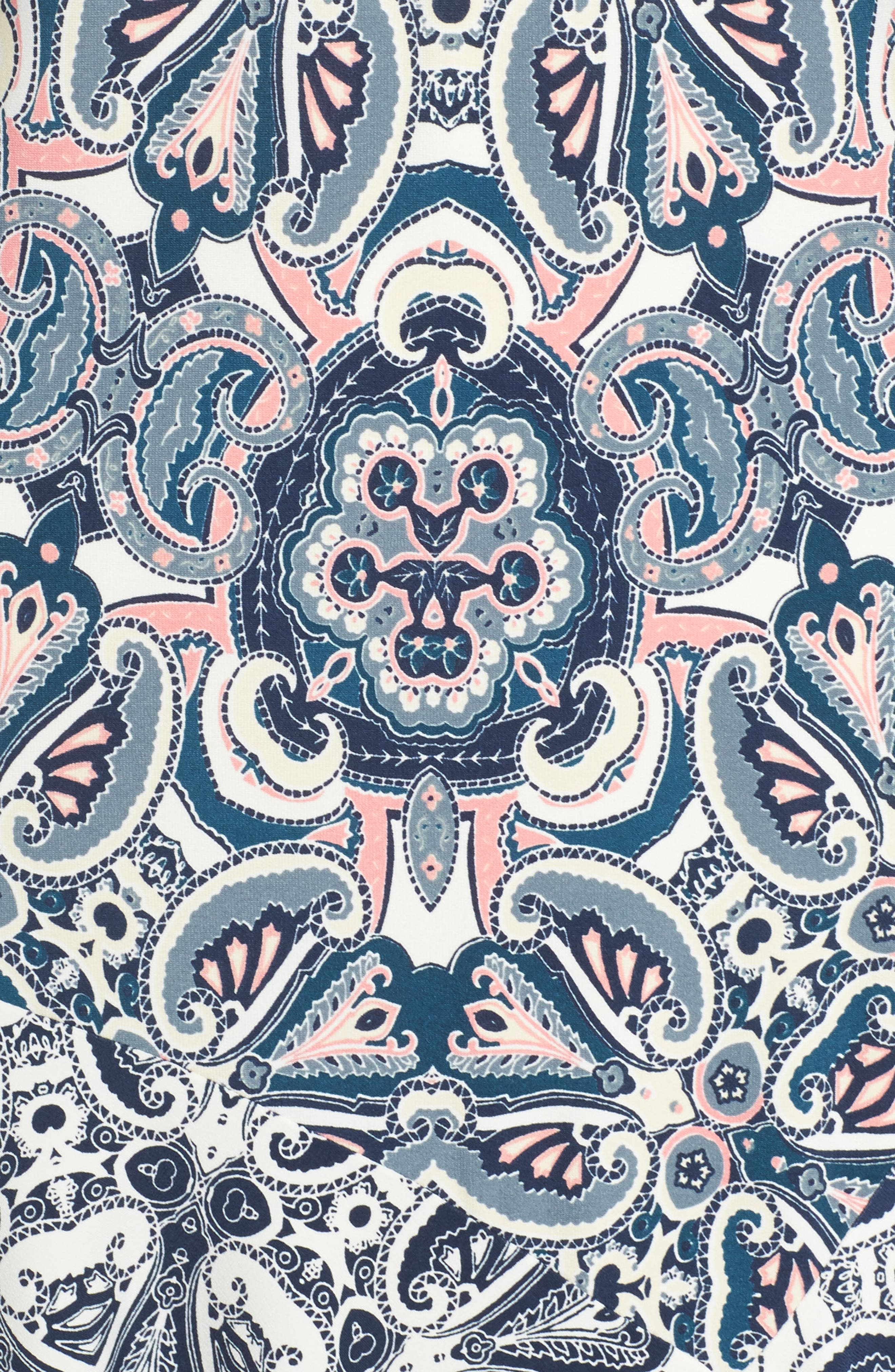 ELIZA J,                             Print Knit A-Line Dress,                             Alternate thumbnail 6, color,                             TEAL