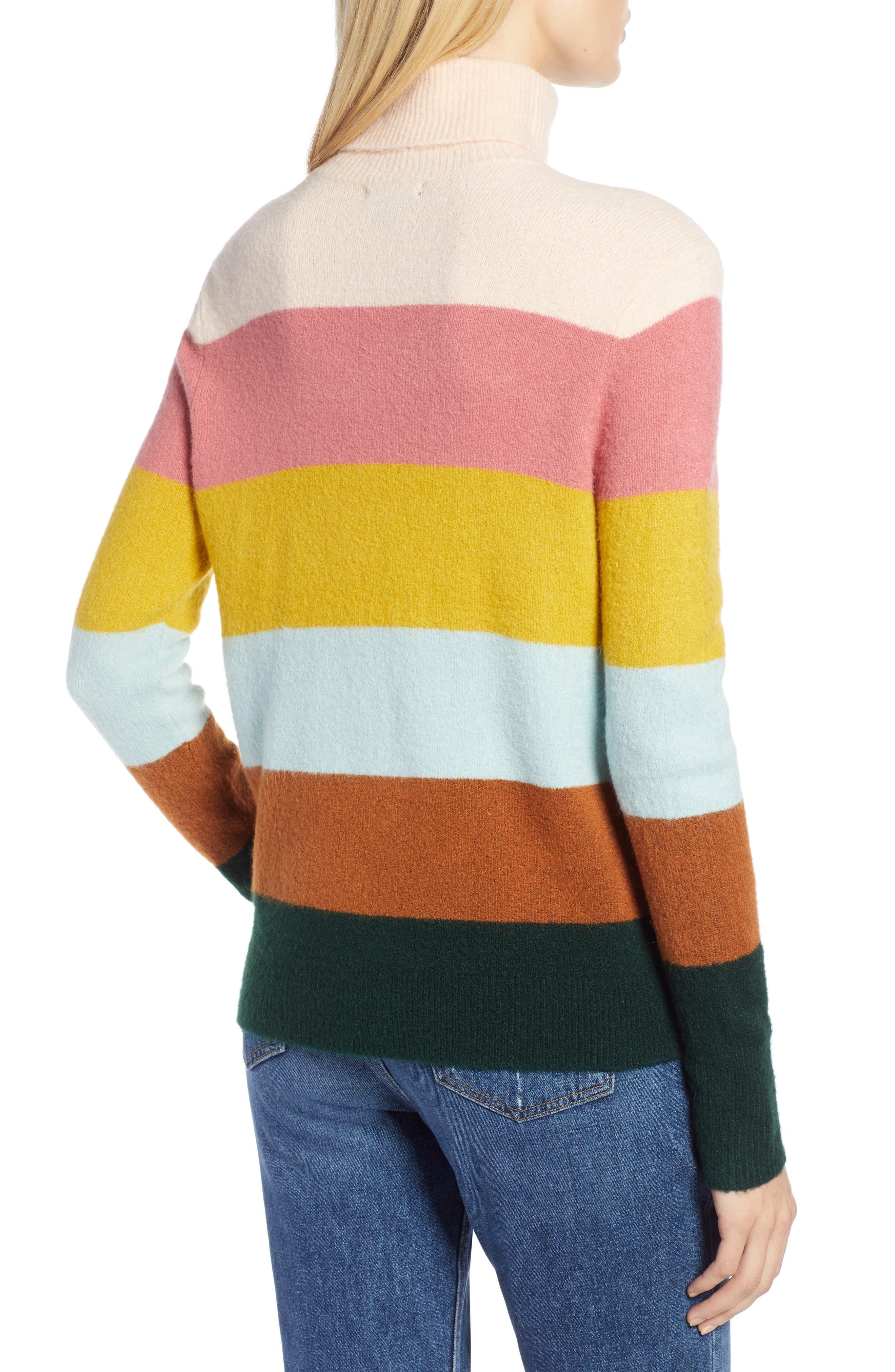 x Atlantic-Pacific Stripe Turtleneck Sweater,                             Alternate thumbnail 3, color,                             PINK MULTI STRIPE