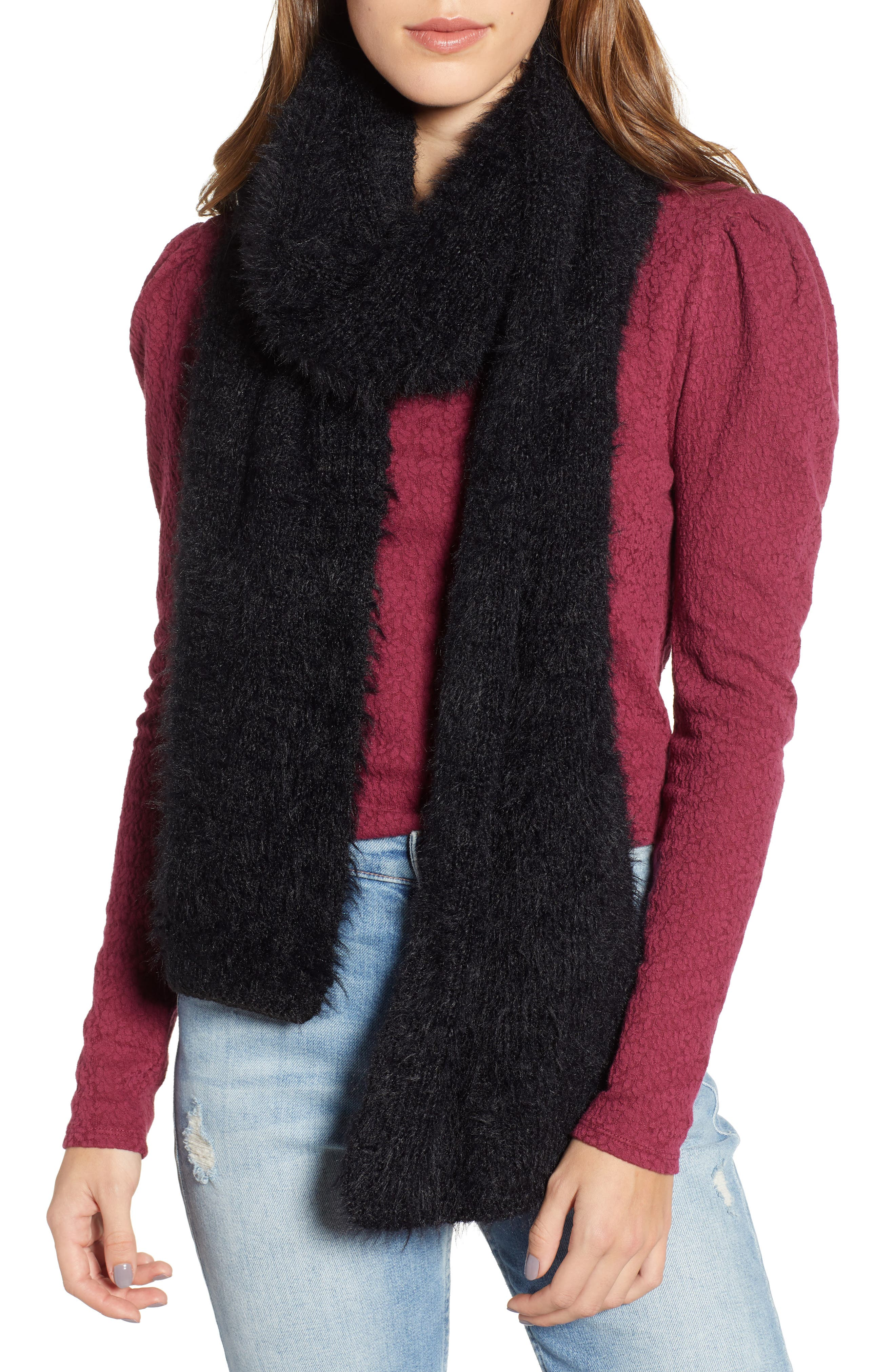 Eyleash Knit Muffler,                         Main,                         color, BLACK