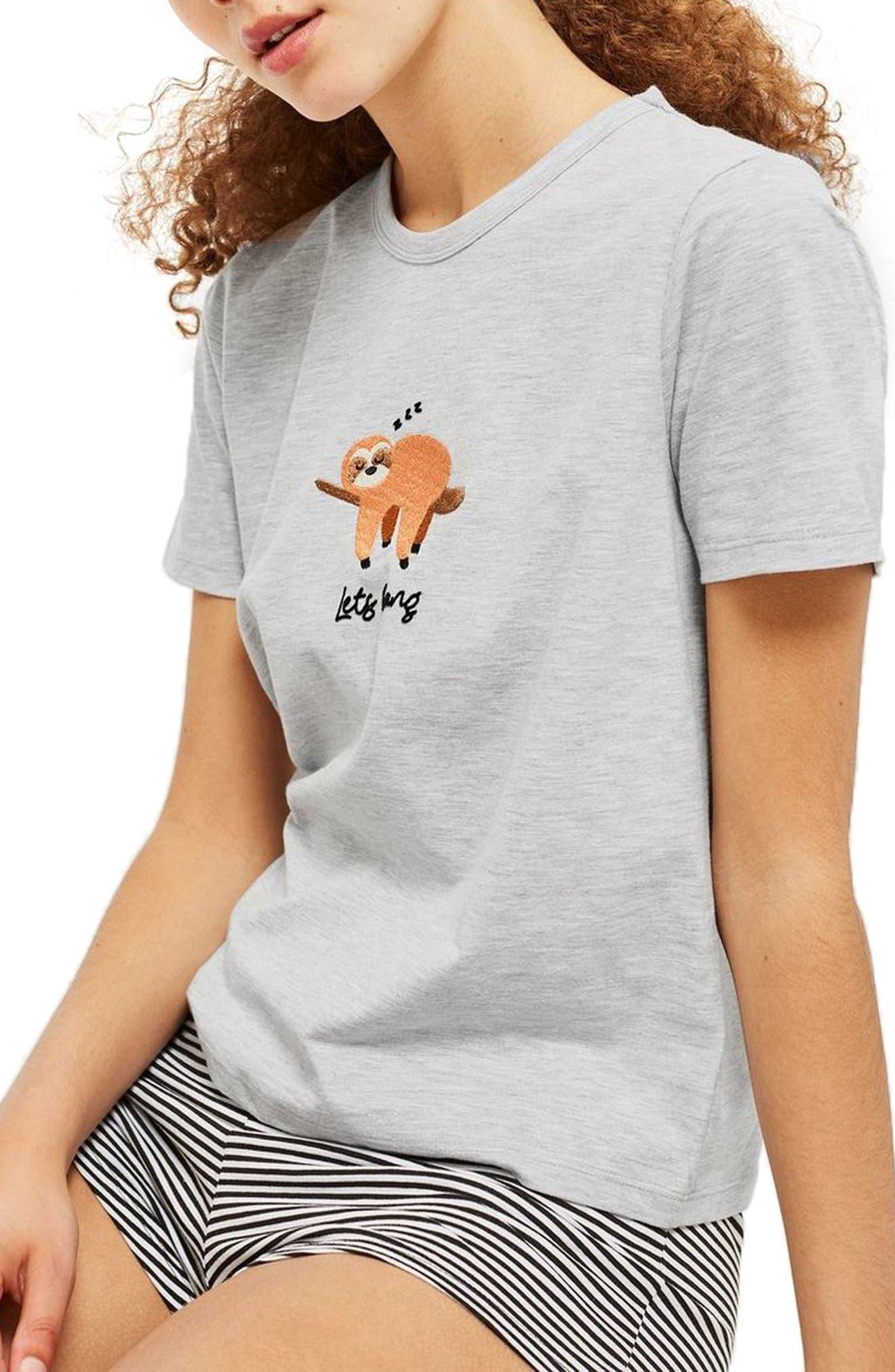 Let's Hang Short Pajamas,                         Main,                         color, GREY
