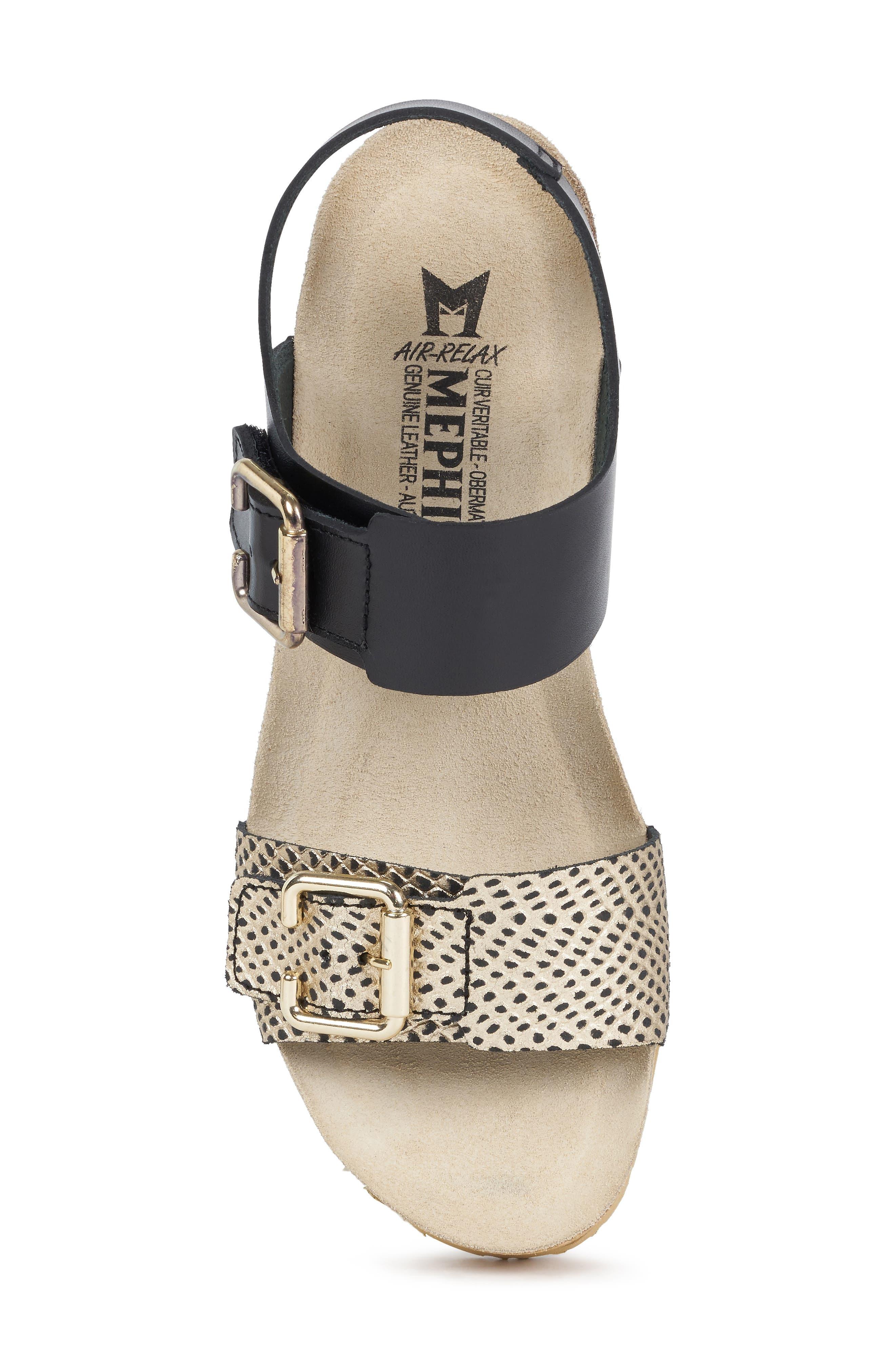 Lissandra Platform Wedge Sandal,                             Alternate thumbnail 5, color,                             BLACK/ GOLD LEATHER