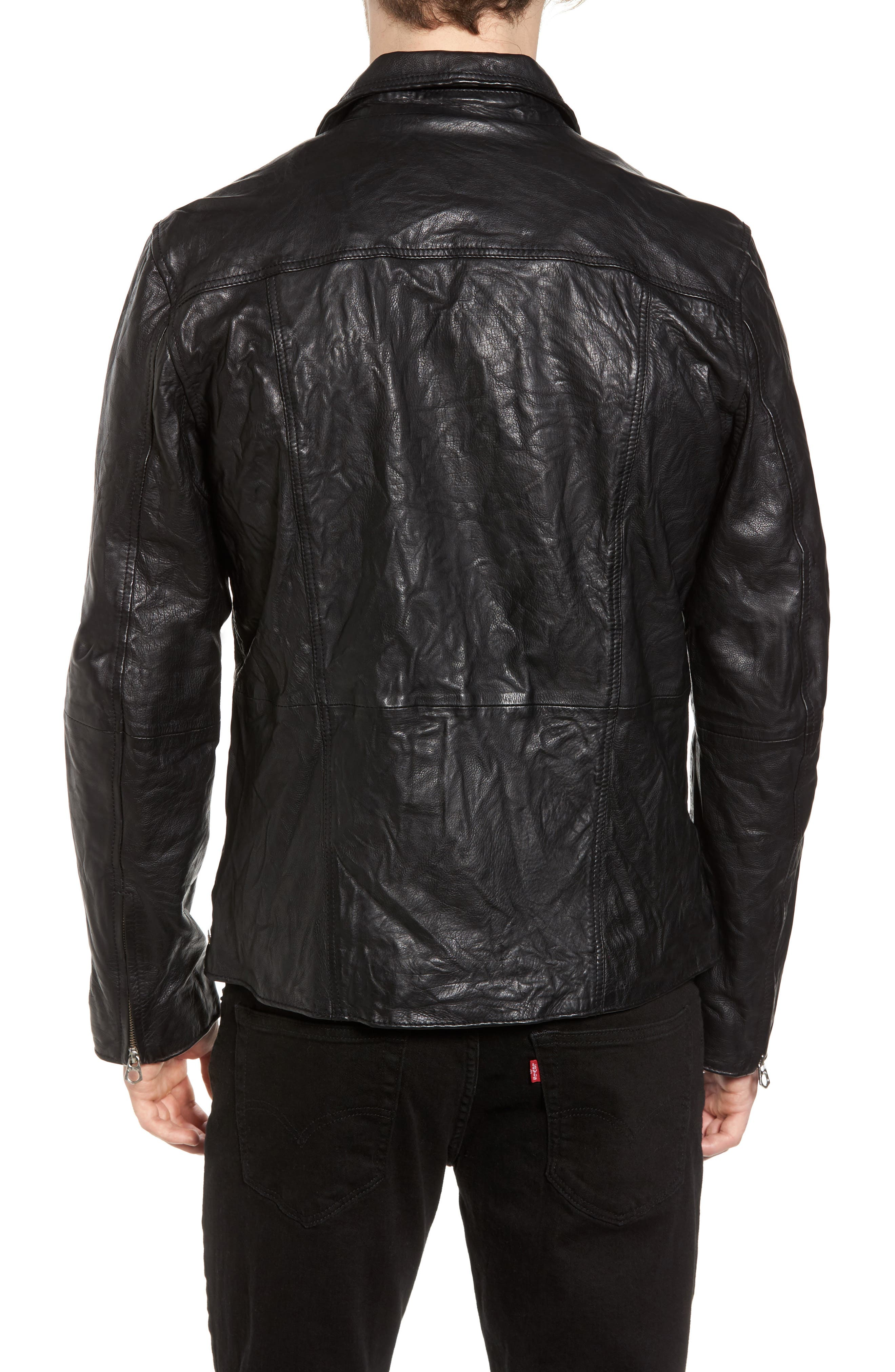 Lightweight Washed Leather Jacket,                             Alternate thumbnail 2, color,
