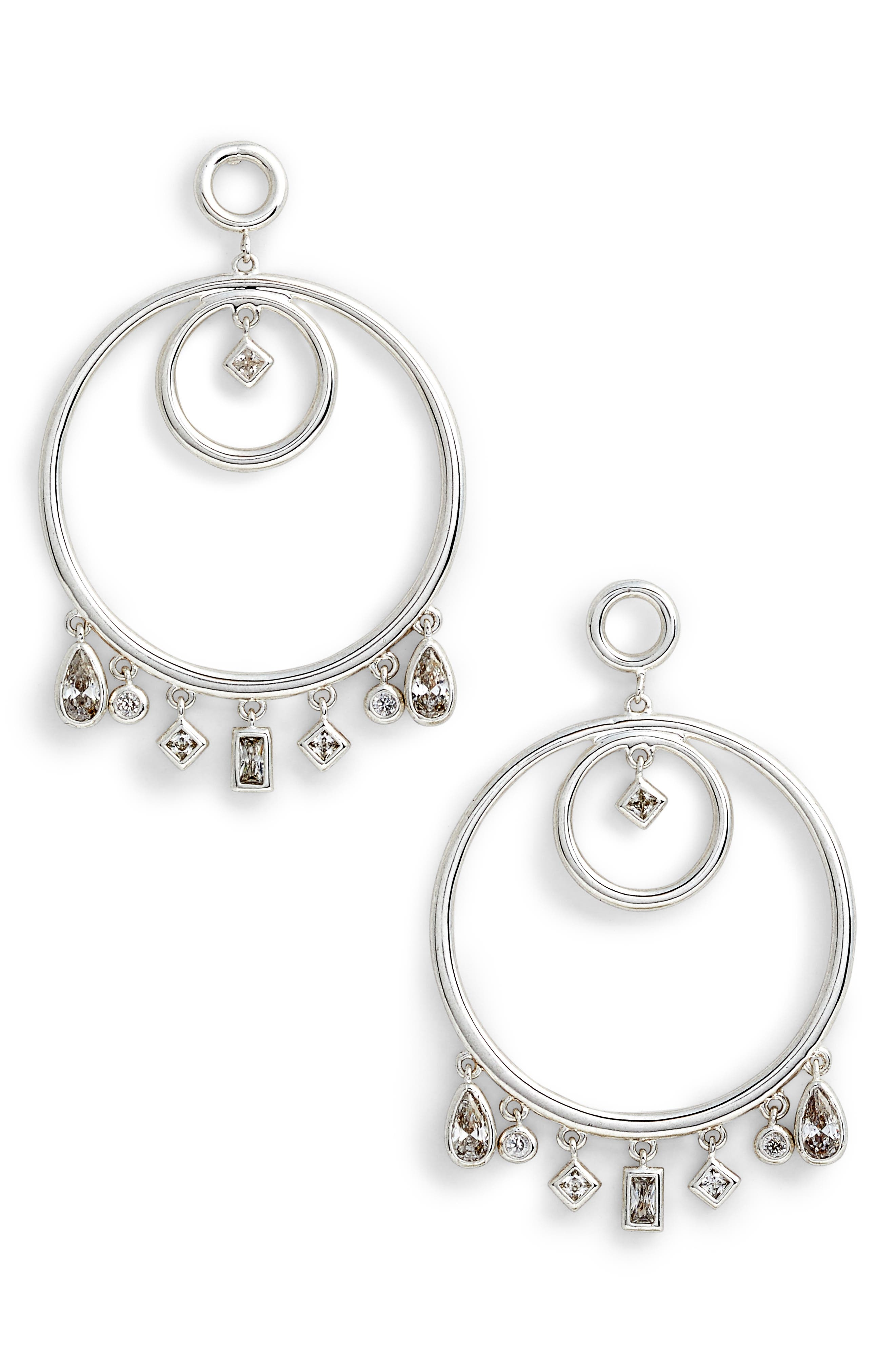 Hanging Jewel Frontal Hoop Earrings,                             Main thumbnail 1, color,                             040