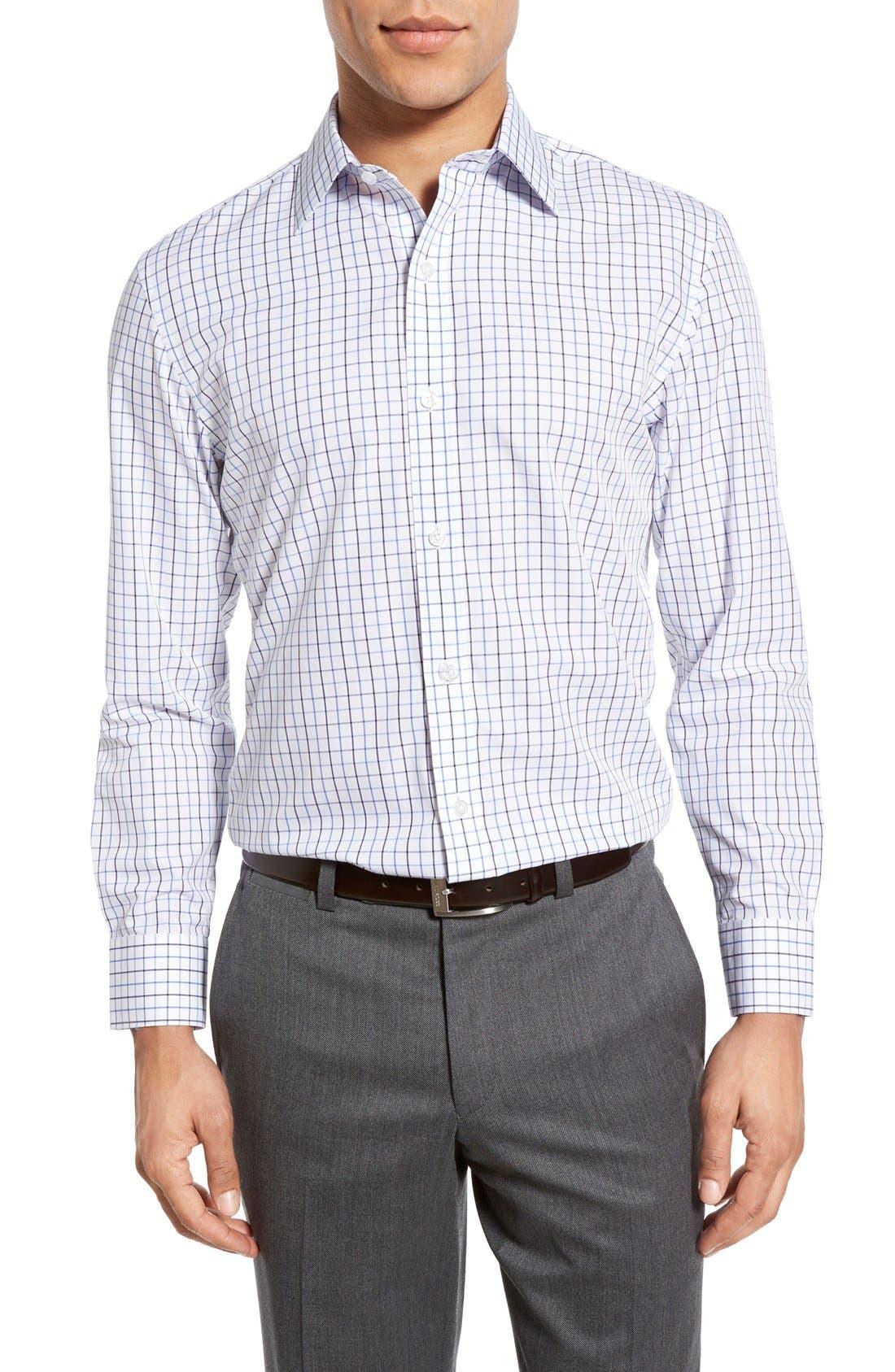 Slim Fit Wrinkle Free Check Dress Shirt,                             Alternate thumbnail 2, color,                             WHITE