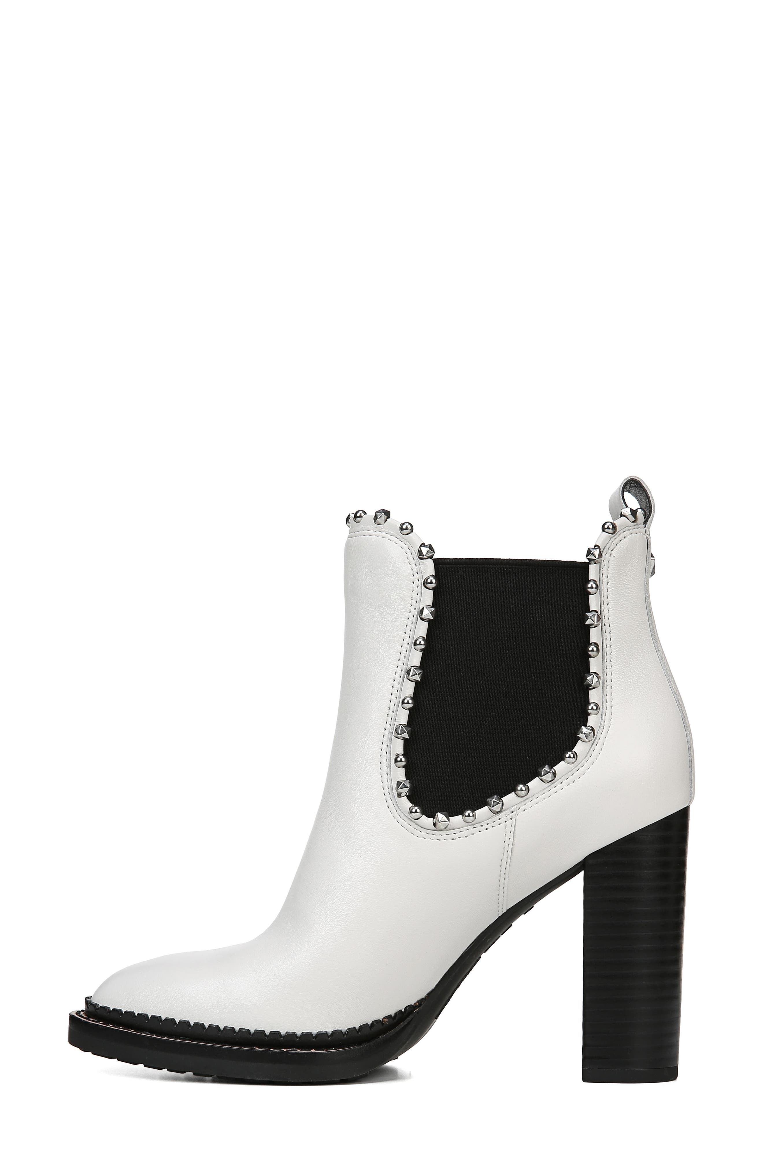 Salma Studded Chelsea Boot,                             Alternate thumbnail 8, color,                             BRIGHT WHITE LEATHER