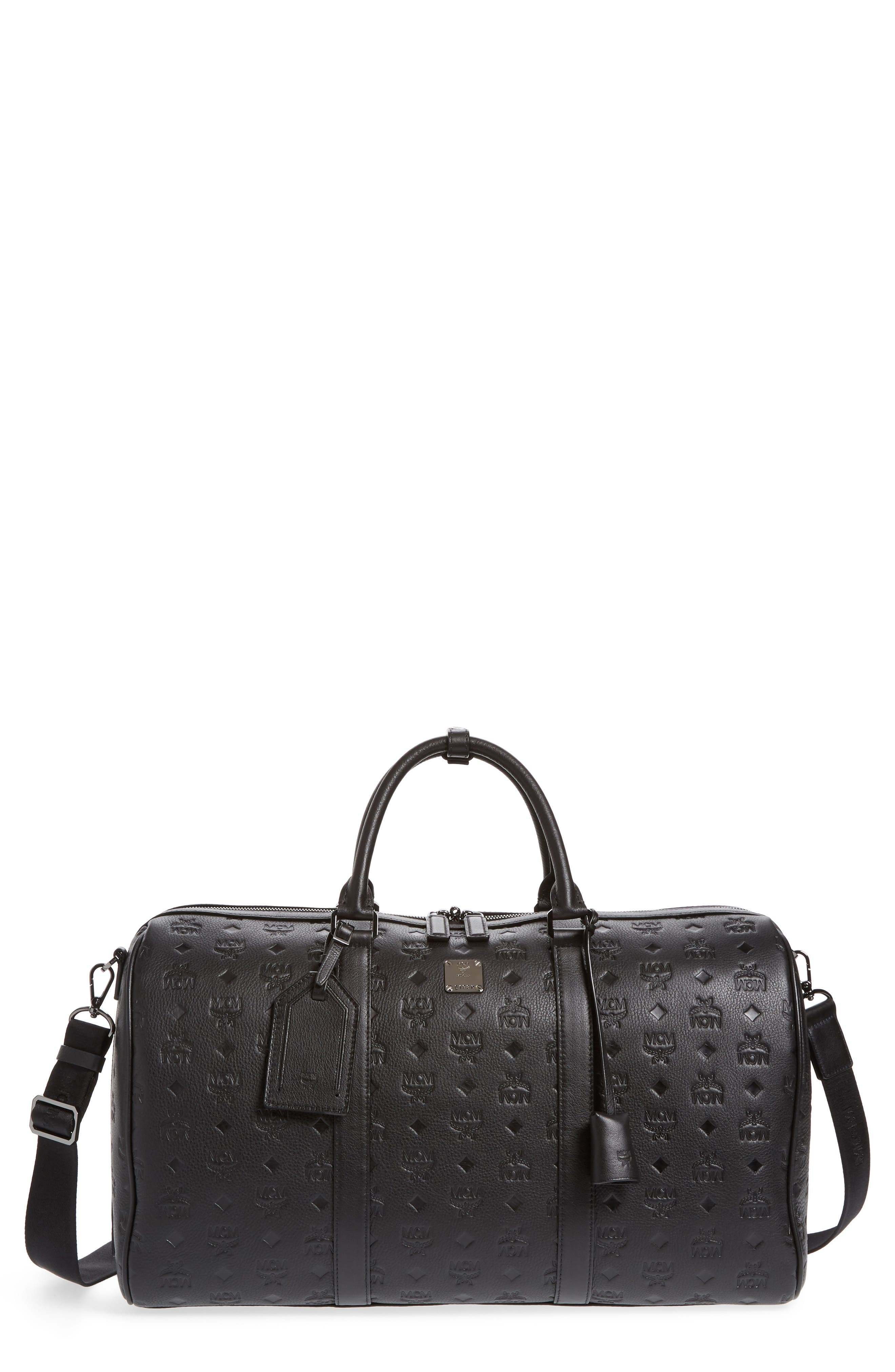 MCM Ottomar Leather Duffel Bag, Main, color, 001
