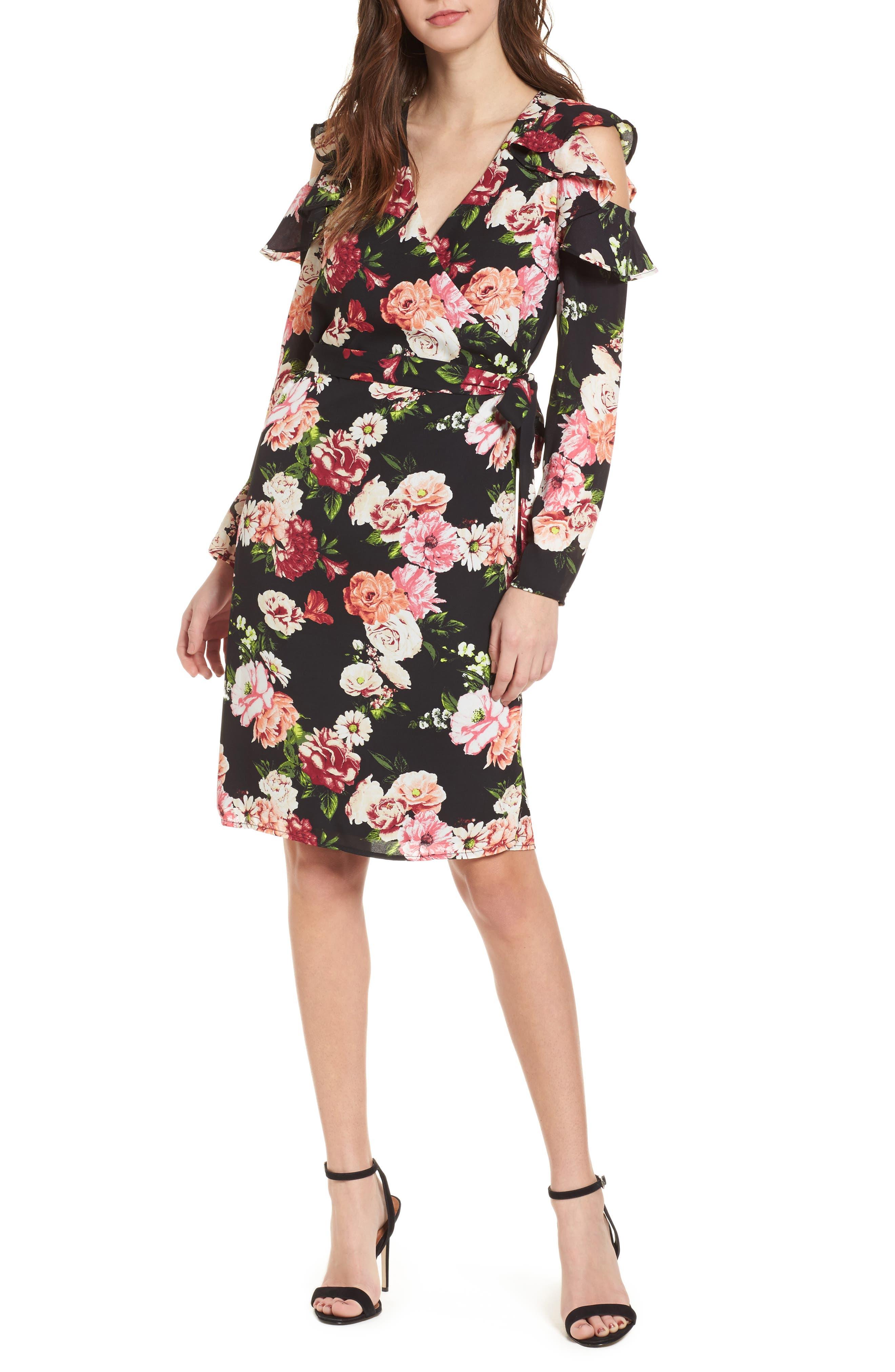 Floral Print Wrap Dress,                             Main thumbnail 1, color,                             002