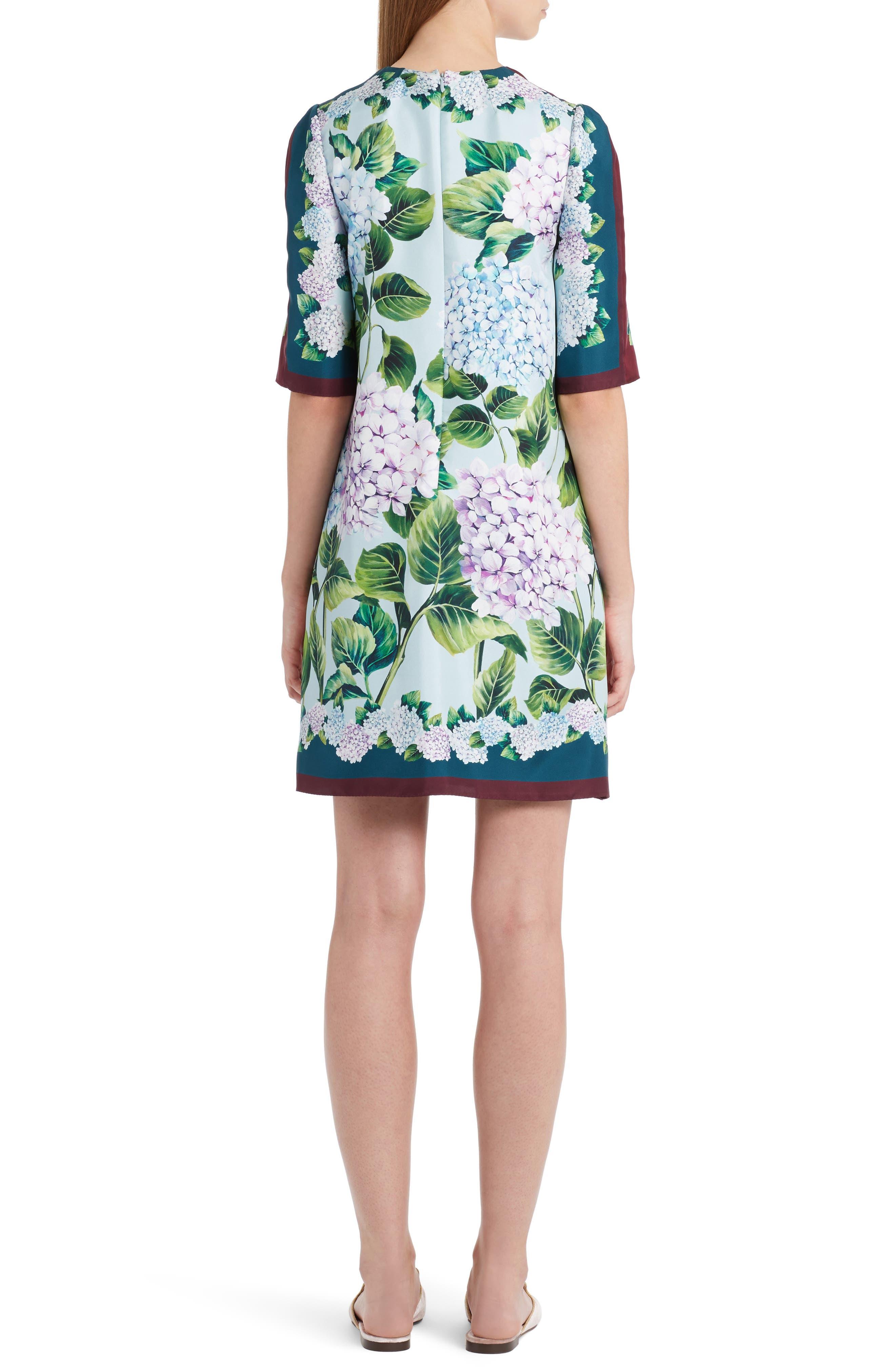 Hydrangea Print Silk Shift Dress,                             Alternate thumbnail 2, color,